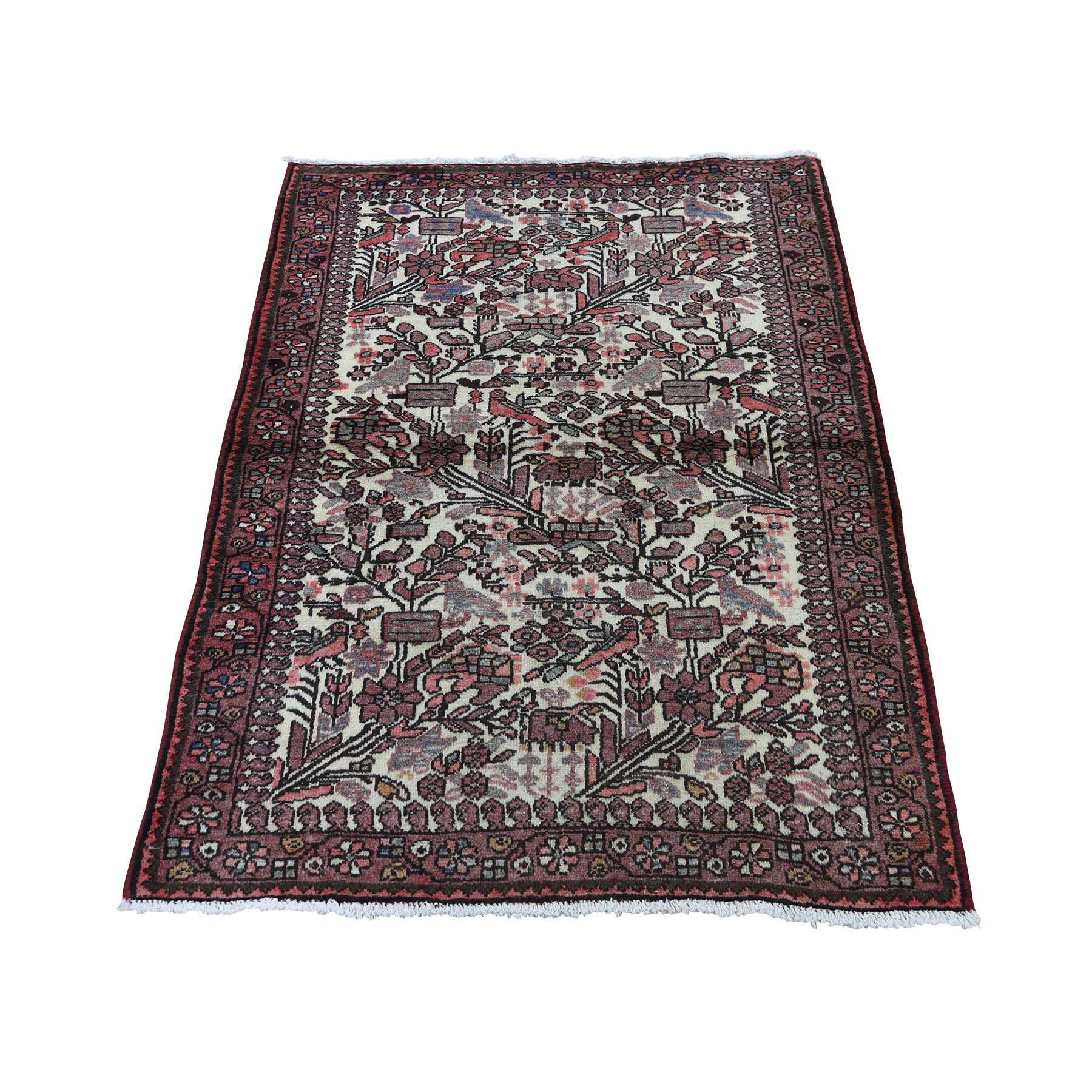 "2'9""X4'4"" Vintage Persian Hamadan With Birds Pure Wool Hand-Knotted Oriental Rug moadce68"