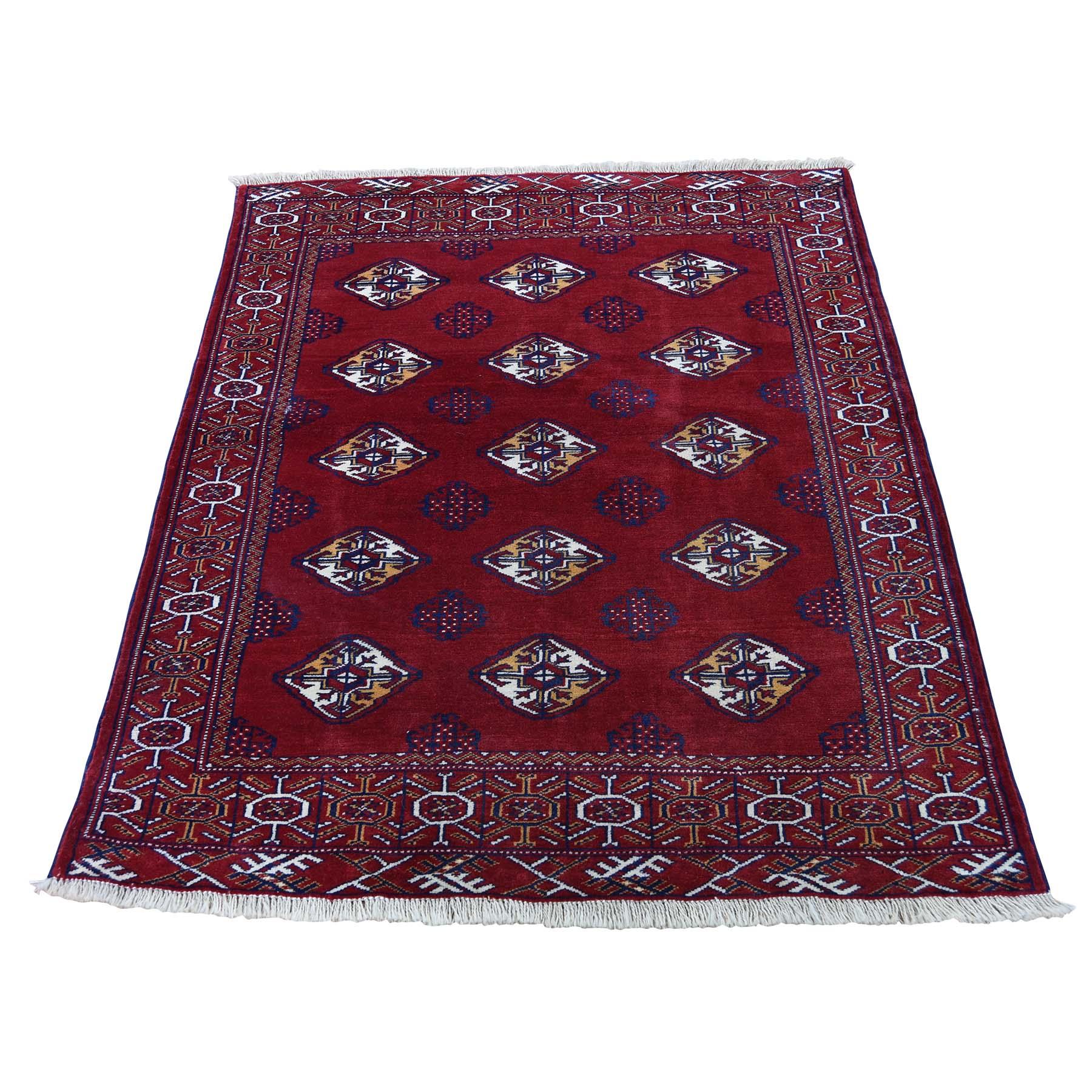 "3'3""X4'2"" Vintage Persian Turkoman Bokara Design Pure Wool Hand-Knotted Oriental Rug moadce70"