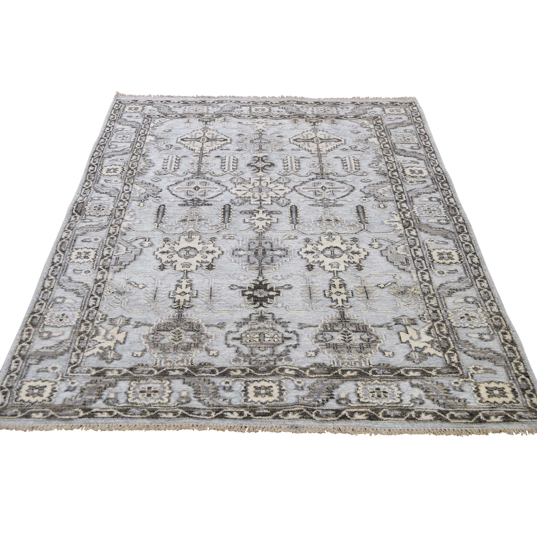 """4'1""""x6' Textured Pile With Textured Wool Hi-Low Hand-Knotted Oriental Rug 43580"""