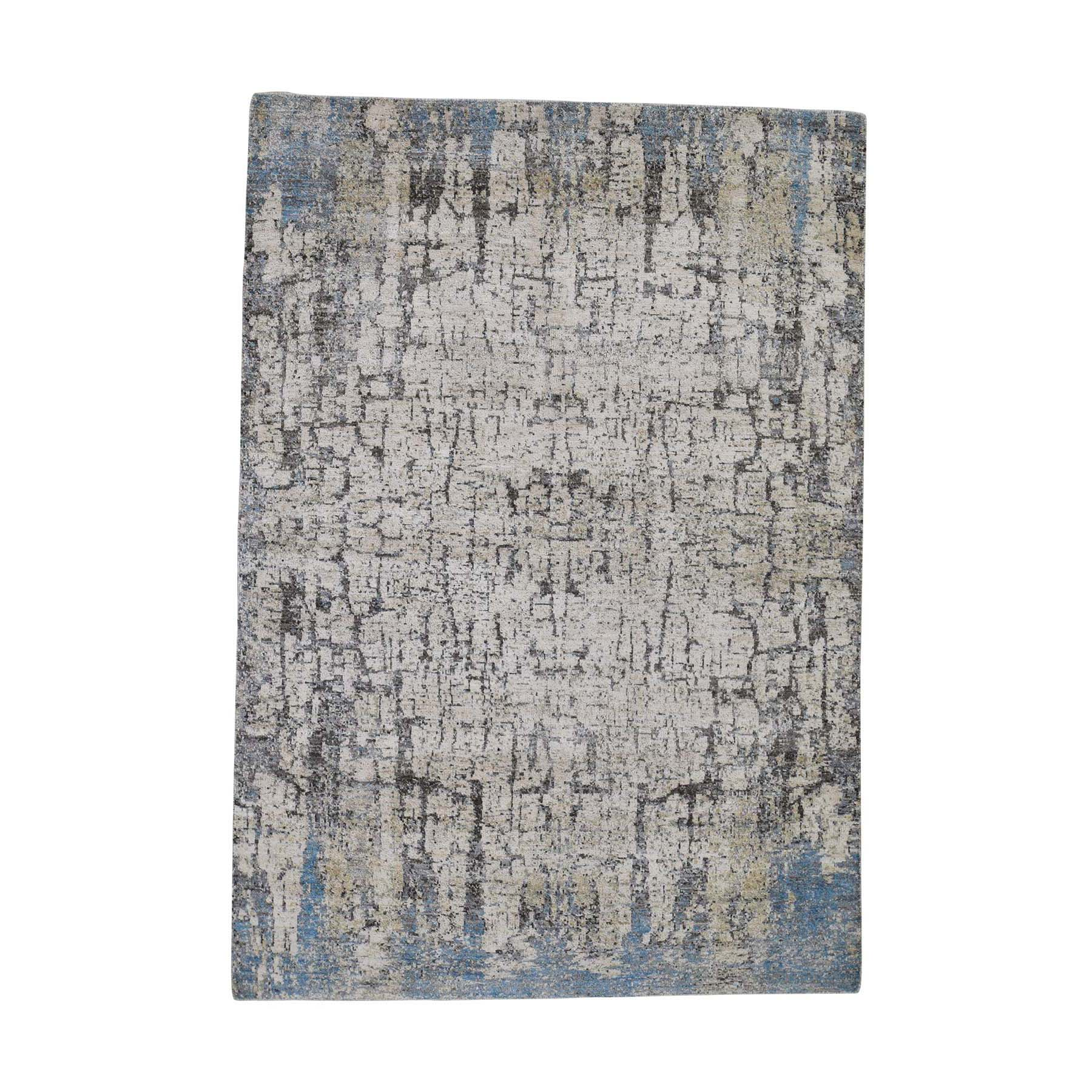 "5'1""X7'2"" Abstract Hand-Knotted Hi-Lo Pile The Tree Bark Soft Wool Oriental Rug moadce8d"