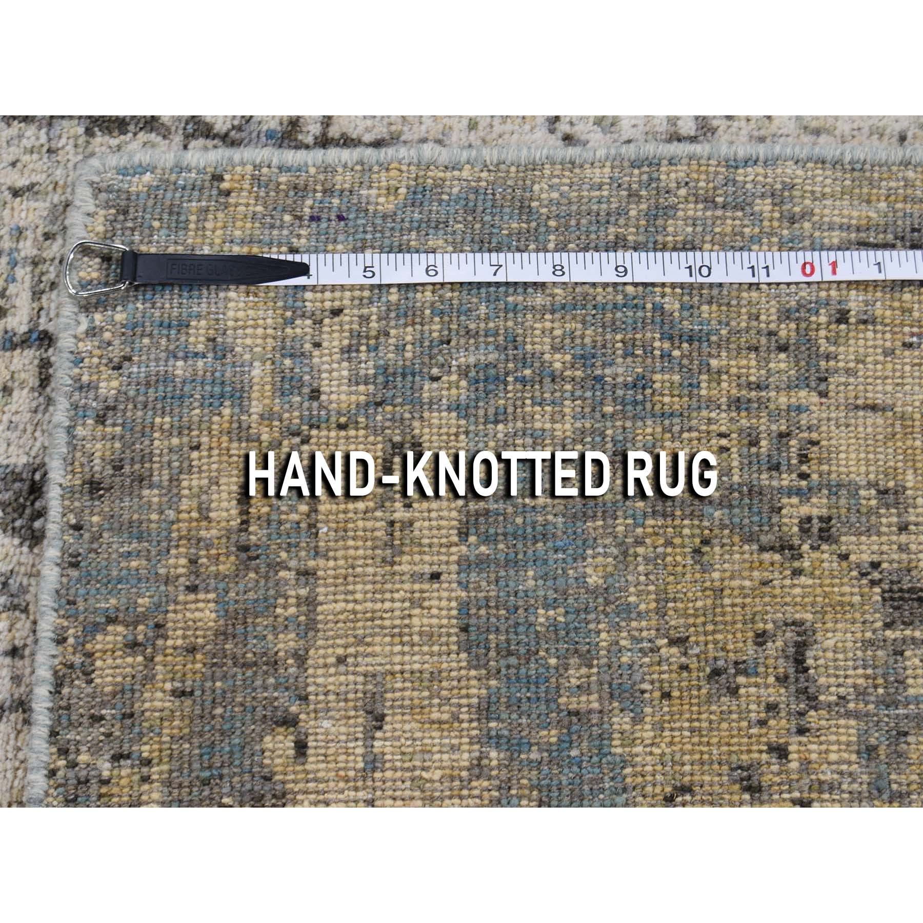 5-1 x7-2  Abstract Hand-Knotted Hi-Lo Pile THE TREE BARK Soft Wool Oriental Rug