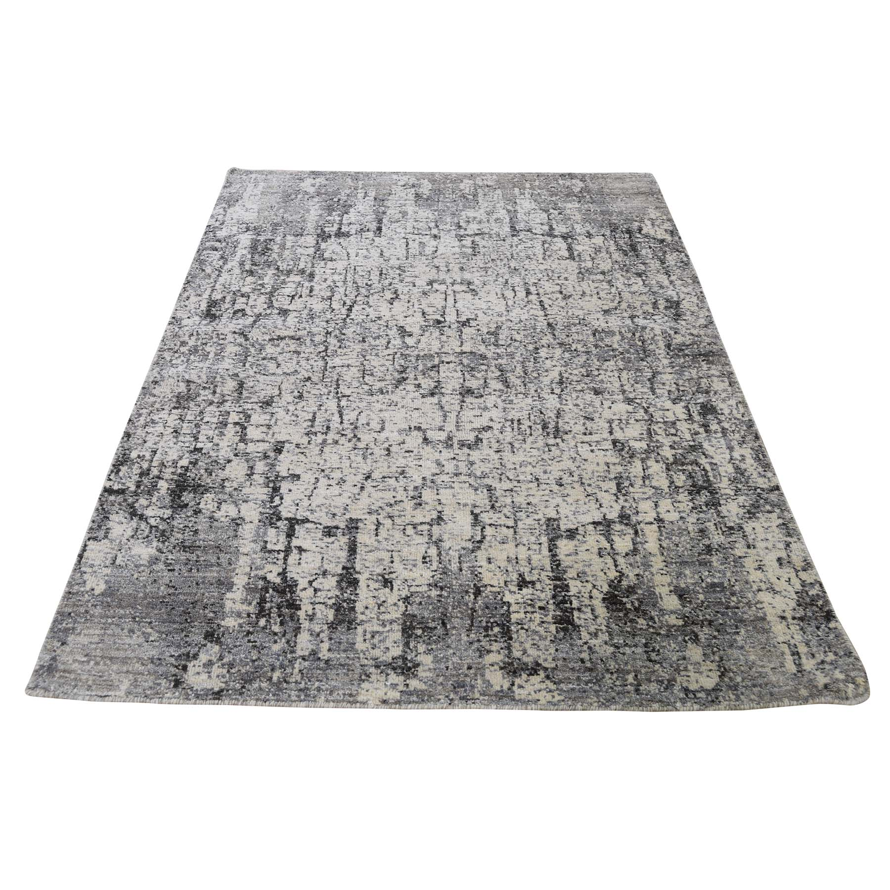 "4'X6'3"" Abstract Hand-Knotted Hi-Lo Pile The Tree Bark Soft Wool Oriental Rug moadce86"