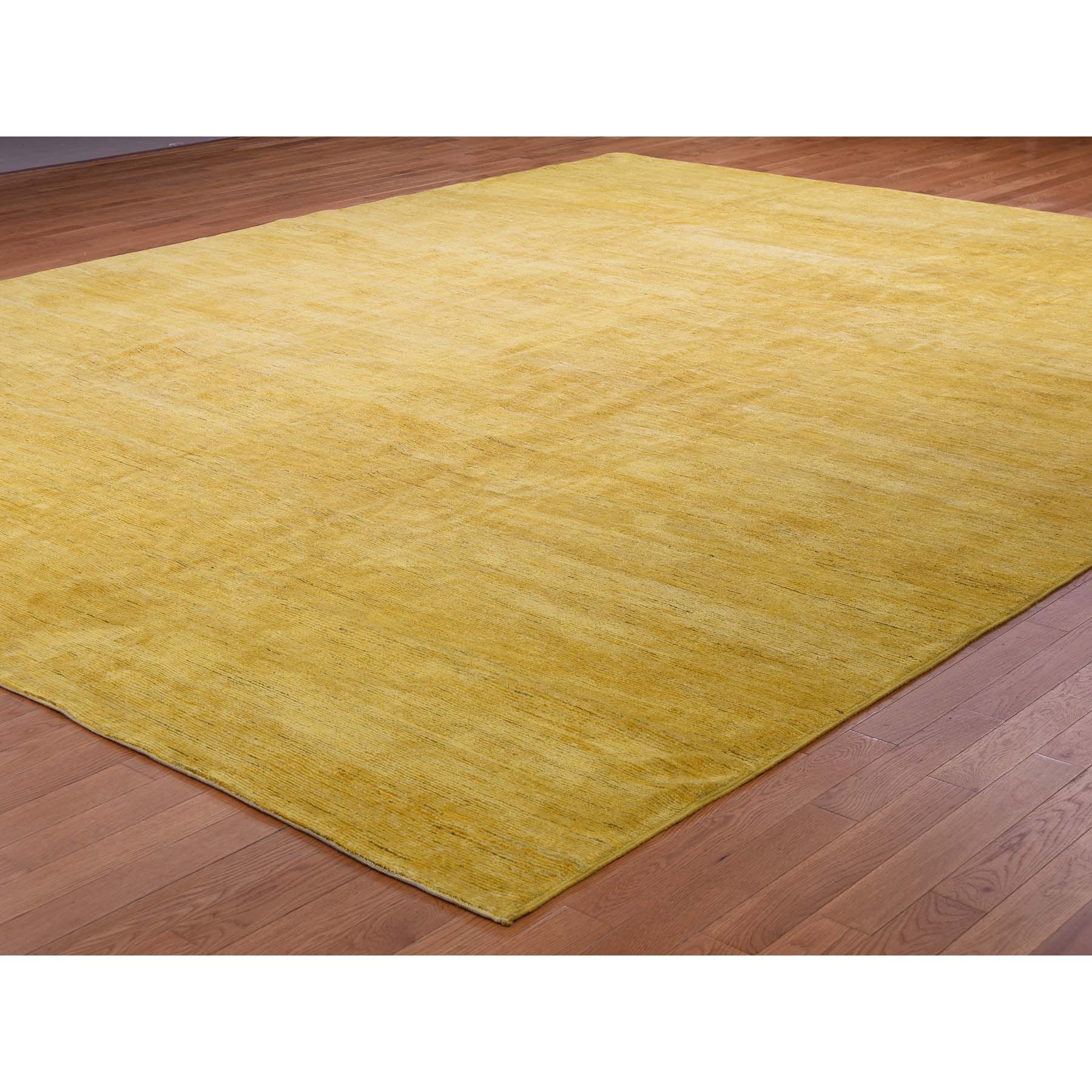 11-9 x14-10  Gabbeh Design Oversize Yellow Pure Wool Hand Knotted Oriental Rug