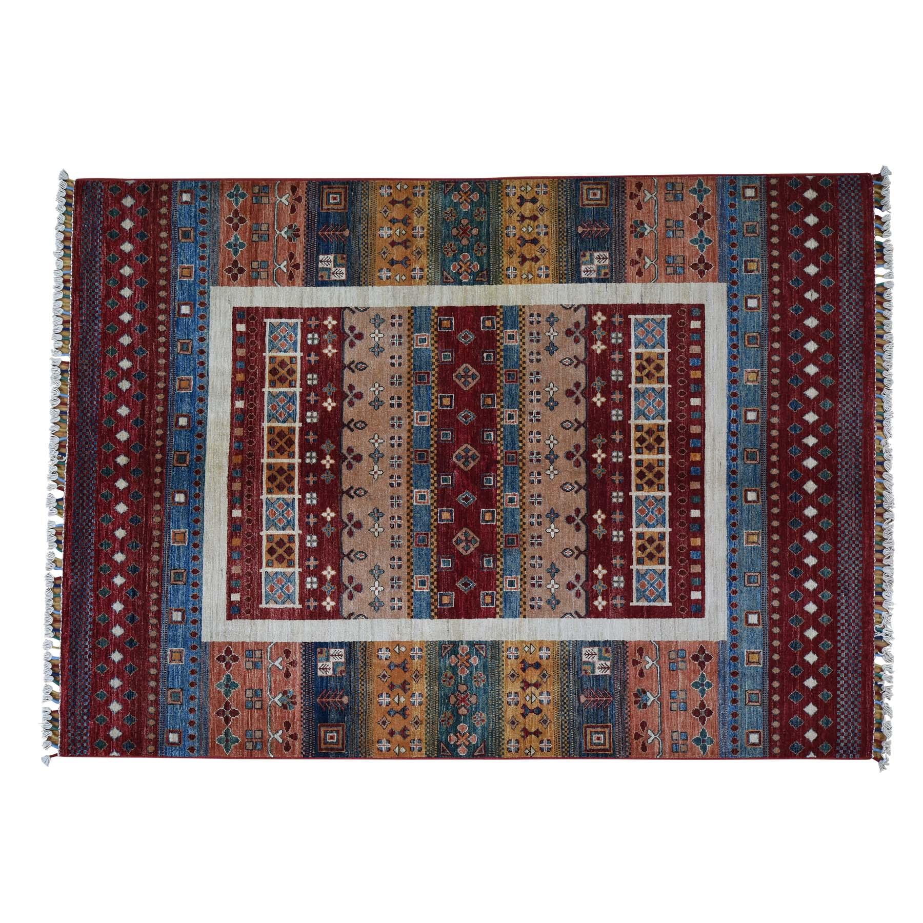 5'x7' Super Kazak Khorjin Design Hand-Knotted Pure Wool Oriental Rug