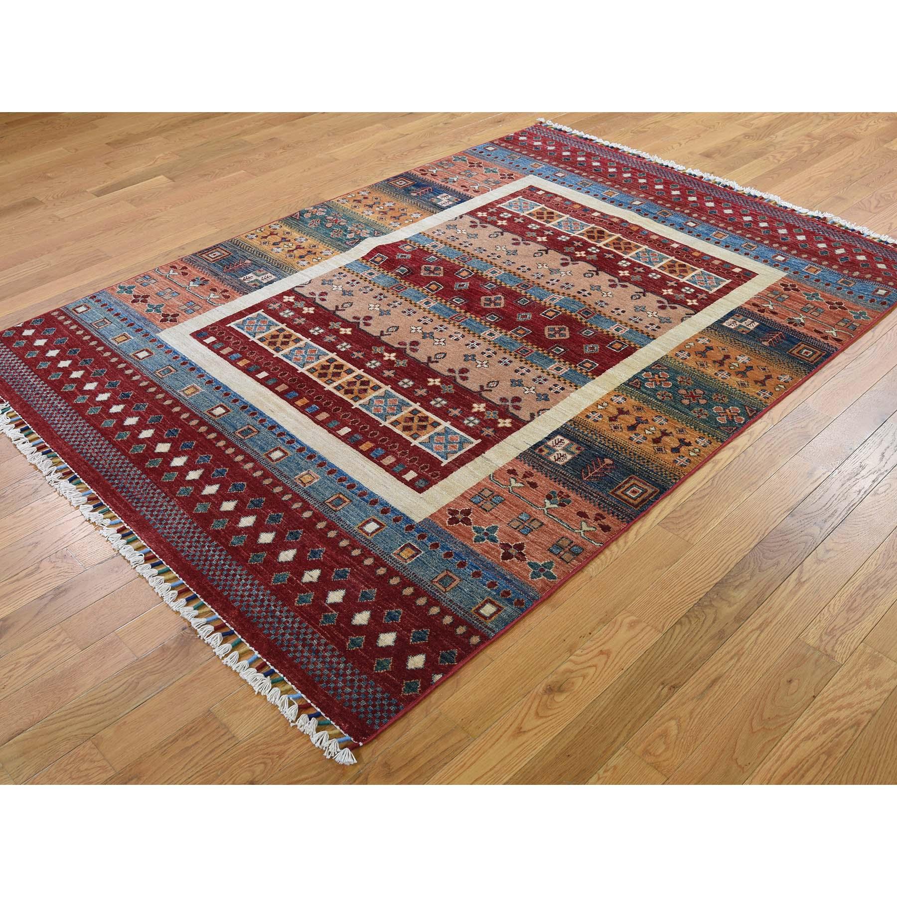 5-x7- Super Kazak Khorjin Design Hand-Knotted Pure Wool Oriental Rug