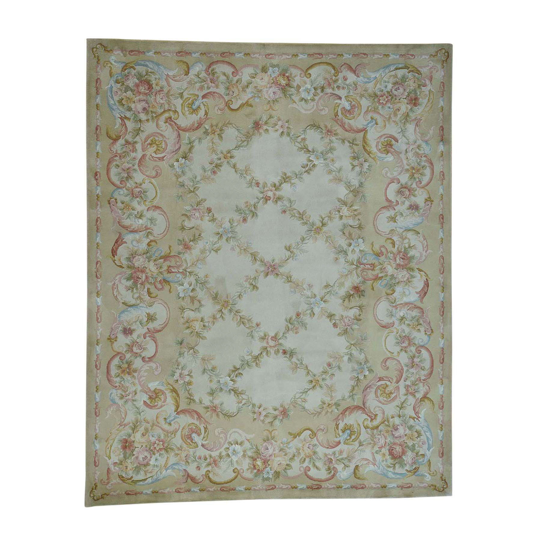 8'x10' Savonnerie Floral Trellis Design Thick And Plush Hand-Knotted Oriental Rug