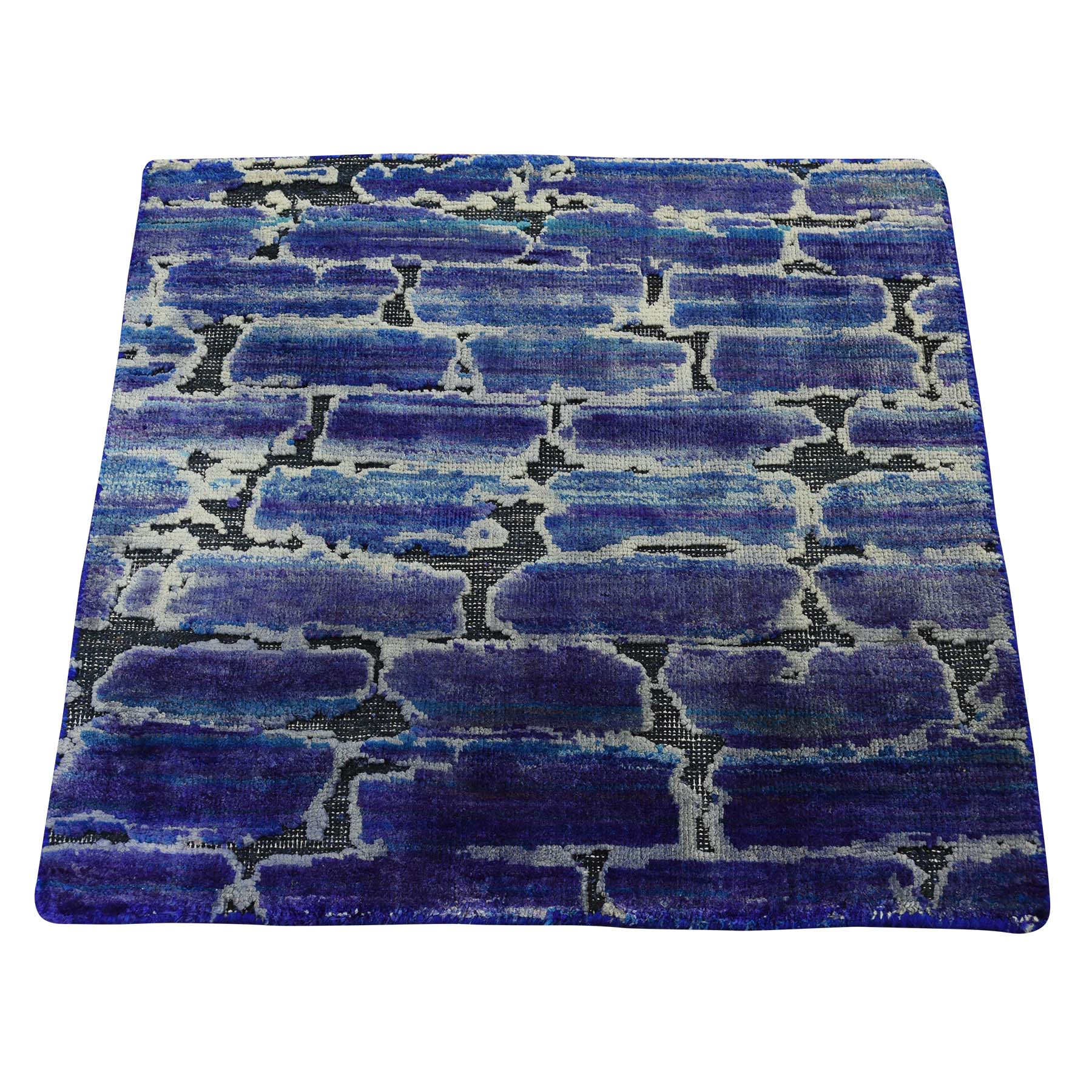 2'X2' Diminishing Bricks Sari Silk With Textured Wool Hand-Knotted Oriental Rug moadc6d8