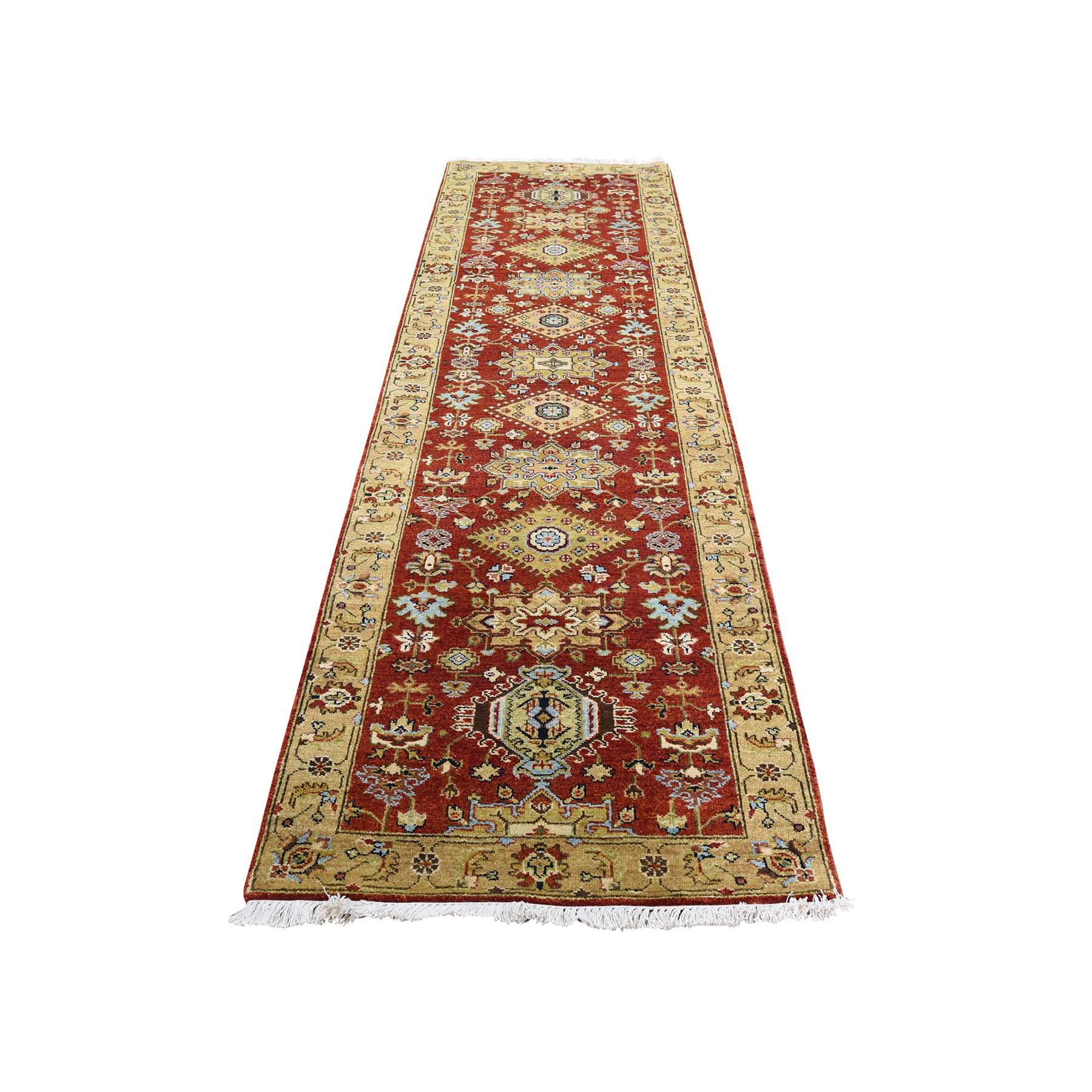 "2'9""X9'9"" Karajeh Design Pure Wool Hand-Knotted Runner Oriental Rug moadc709"