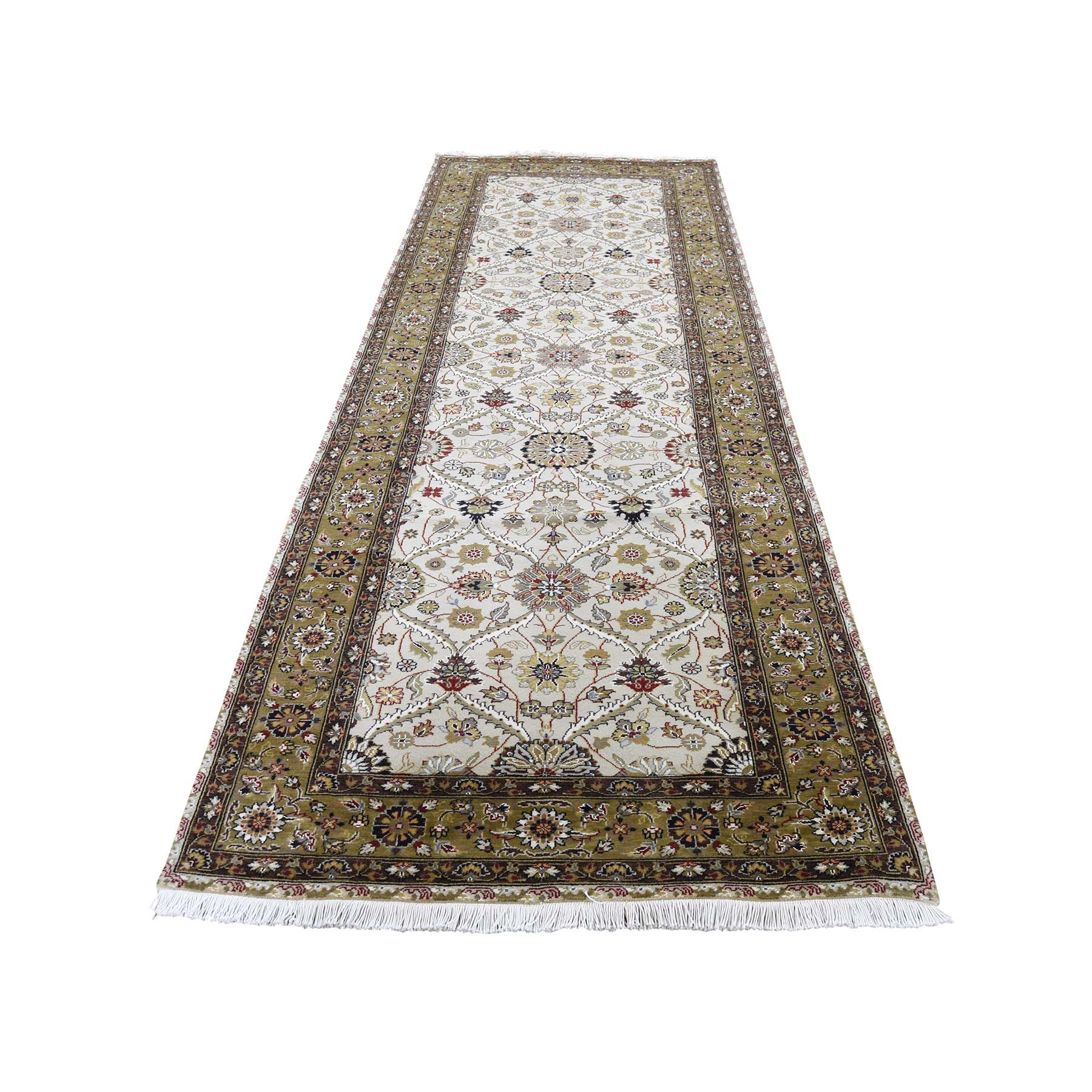"3'6""X10'3"" Wool And Silk Hereke Design 300 Kpsi Runner Hand-Knotted Oriental Rug moadc7a0"