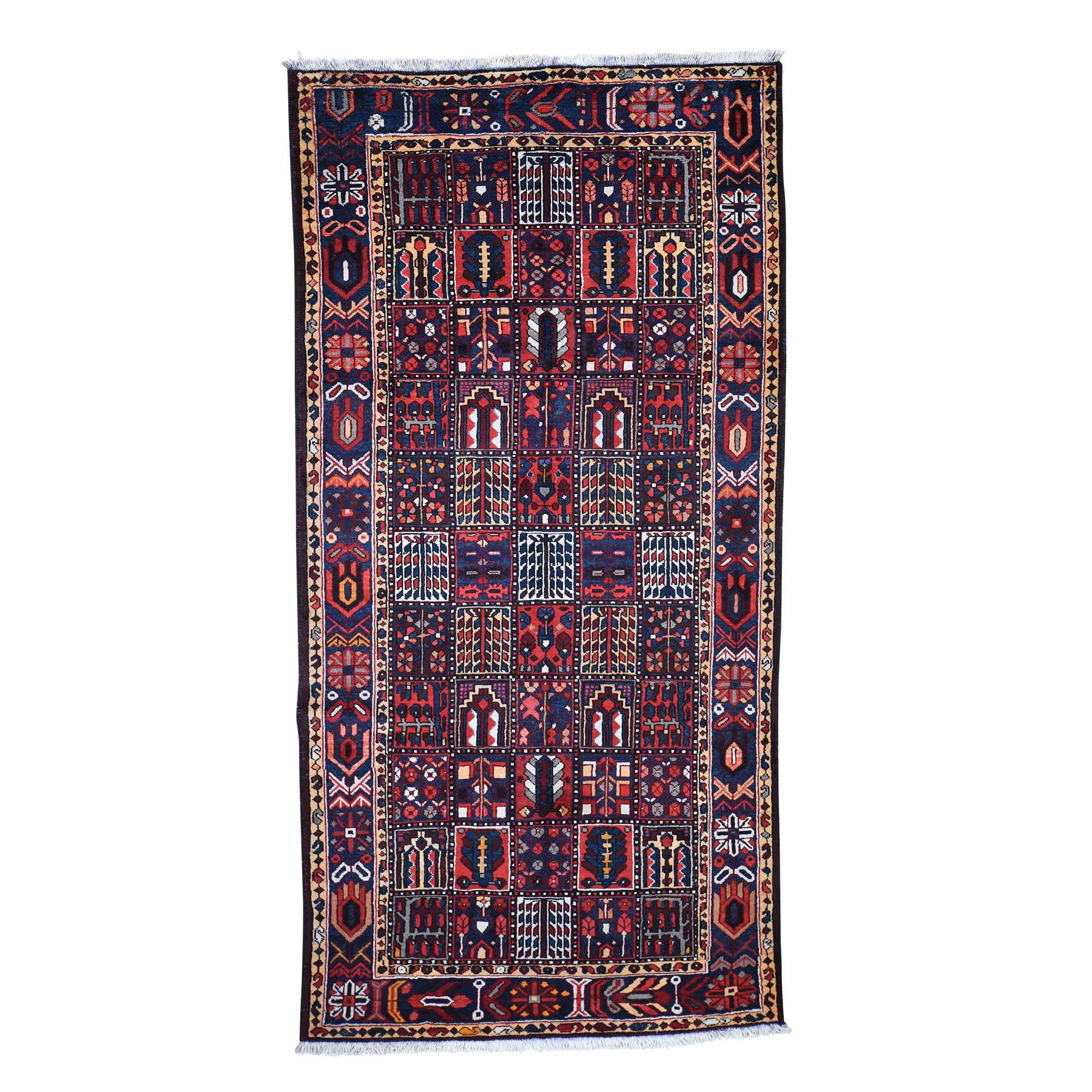 "5'1""X10'2"" Semi Antique Persian Bakhtiari Garden Design Wide Runner Hand-Knotted Oriental Rug moadc7bc"