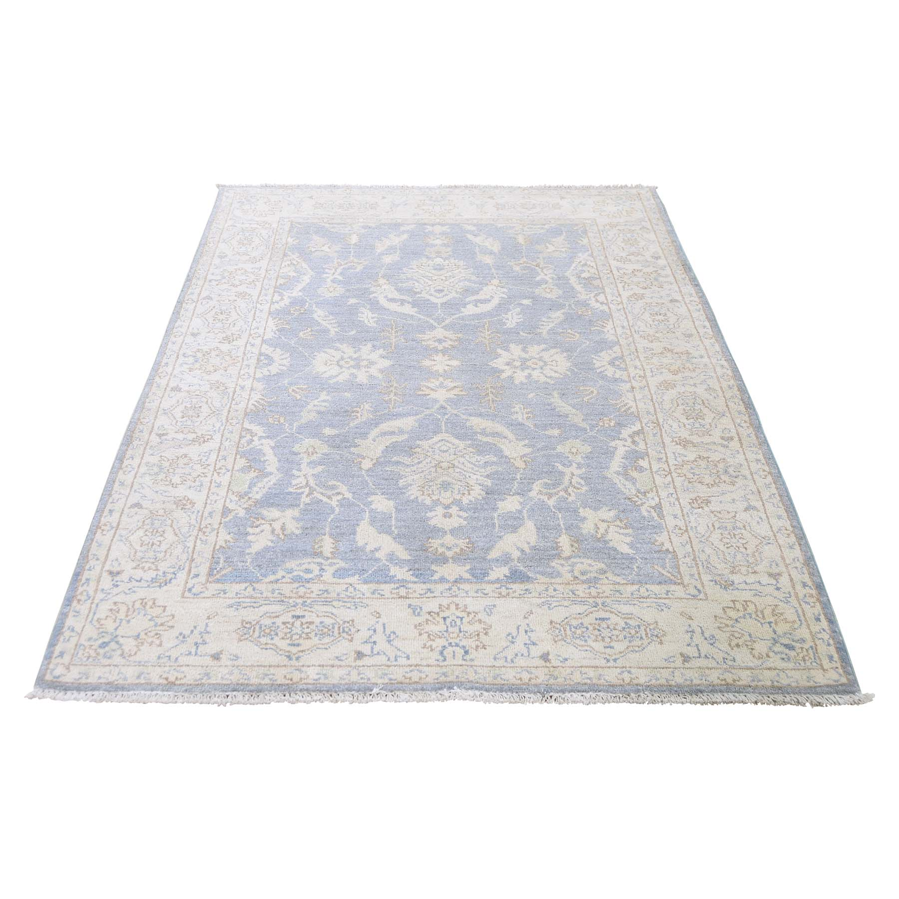 4'X6' Peshawar White Wash Hand-Knotted Pure Wool Oriental Rug moadc7ea