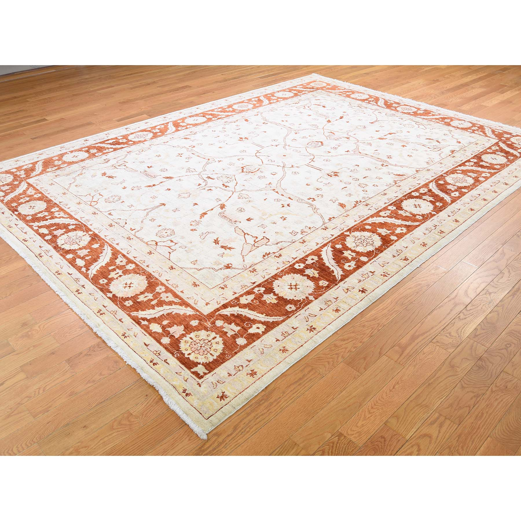 "8'x10'10"" On Clearance White Wash Peshawar Hand-Knotted Pure Wool Oriental Rug"