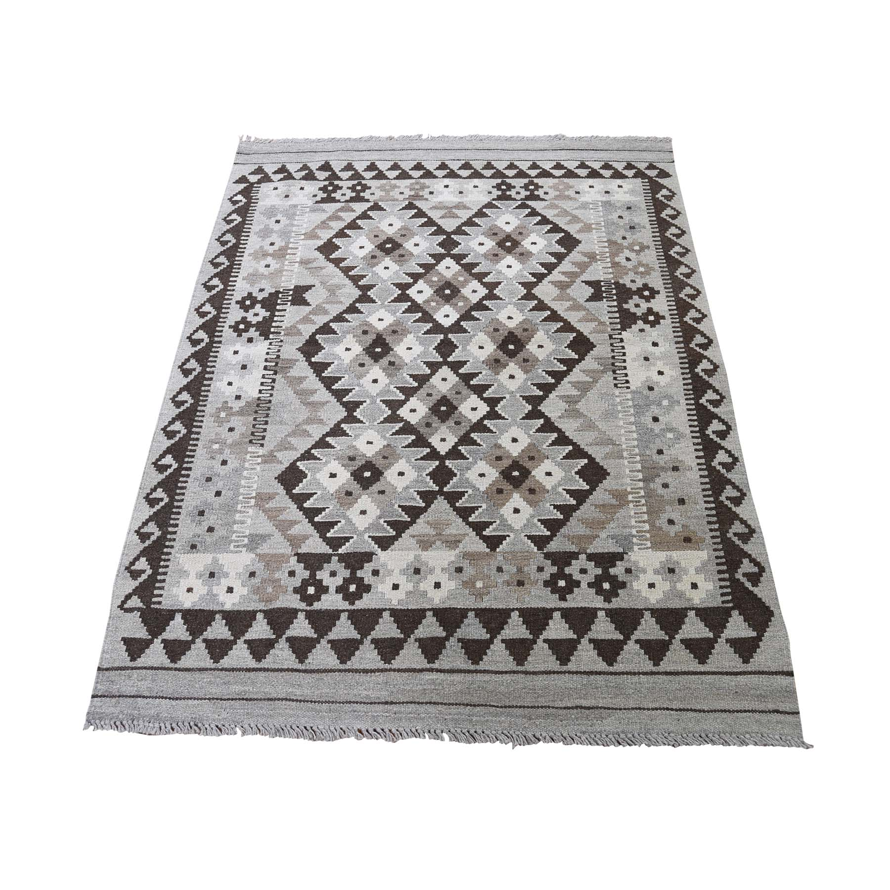 "3'1""X4'10"" Afghan Kilim Reversible Undyed Natural Wool Hand Woven Oriental Rug moadc8ab"
