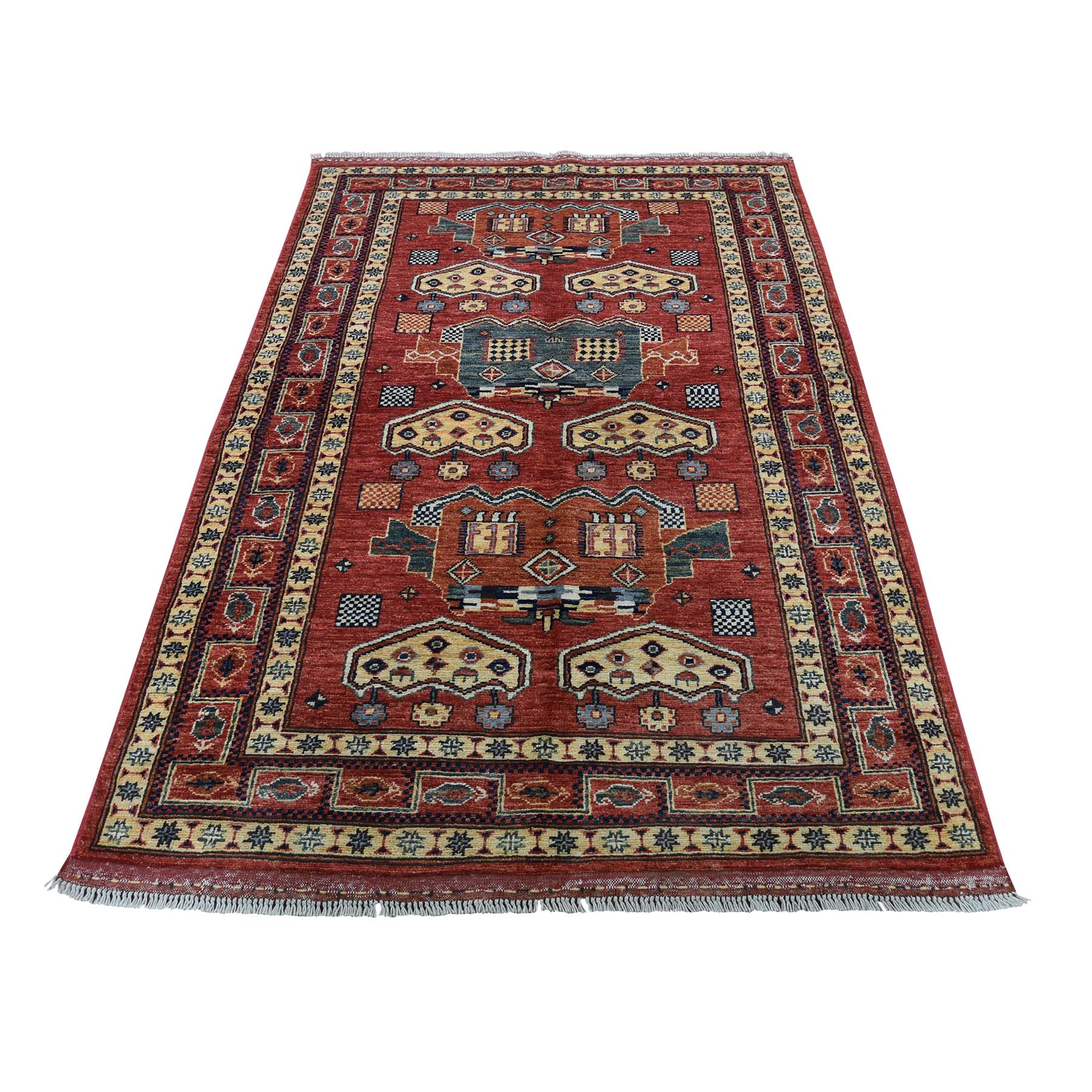 "3'8""X6'1"" Afghan Ersari Pure Wool Hand-Knotted Oriental Rug moadc8a7"
