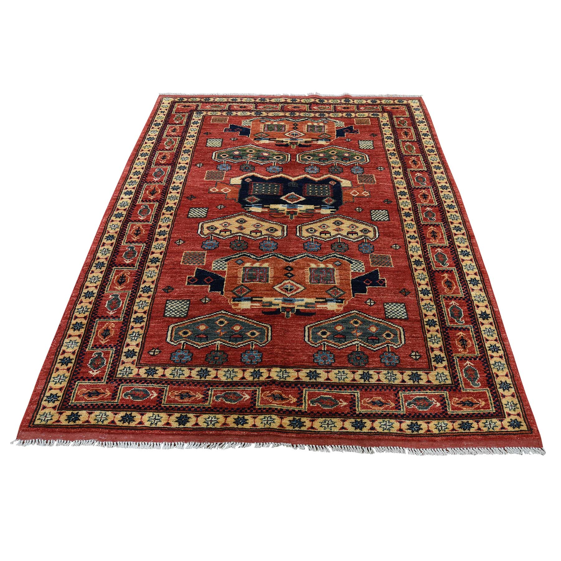 "4'5""X6' Pure Wool Hand-Knotted Afghan Ersari Oriental Rug moadc8a9"