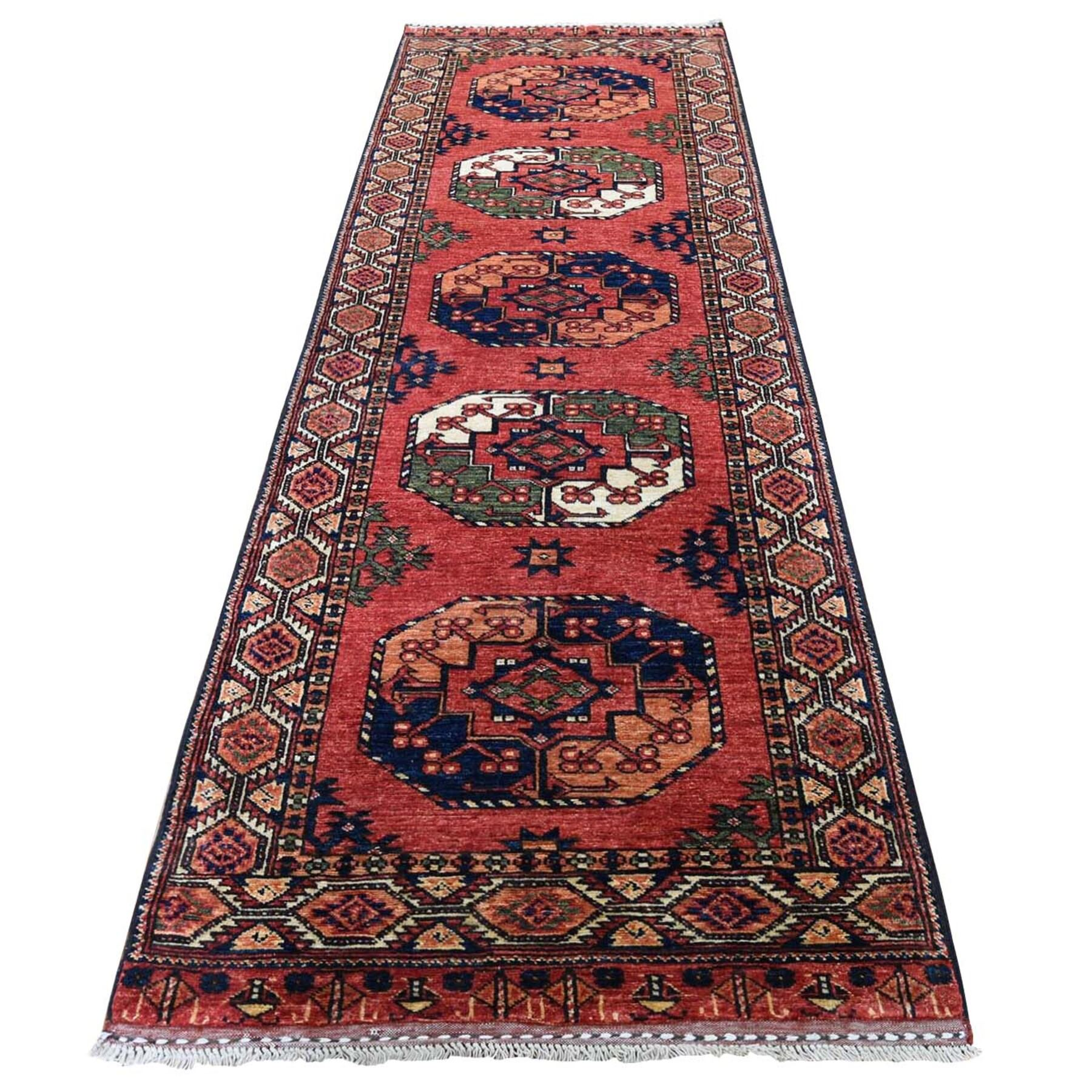"3'X9'5"" Afghan Ersari Elephant Feet Design Runner Hand-Knotted Rug moadc8bb"