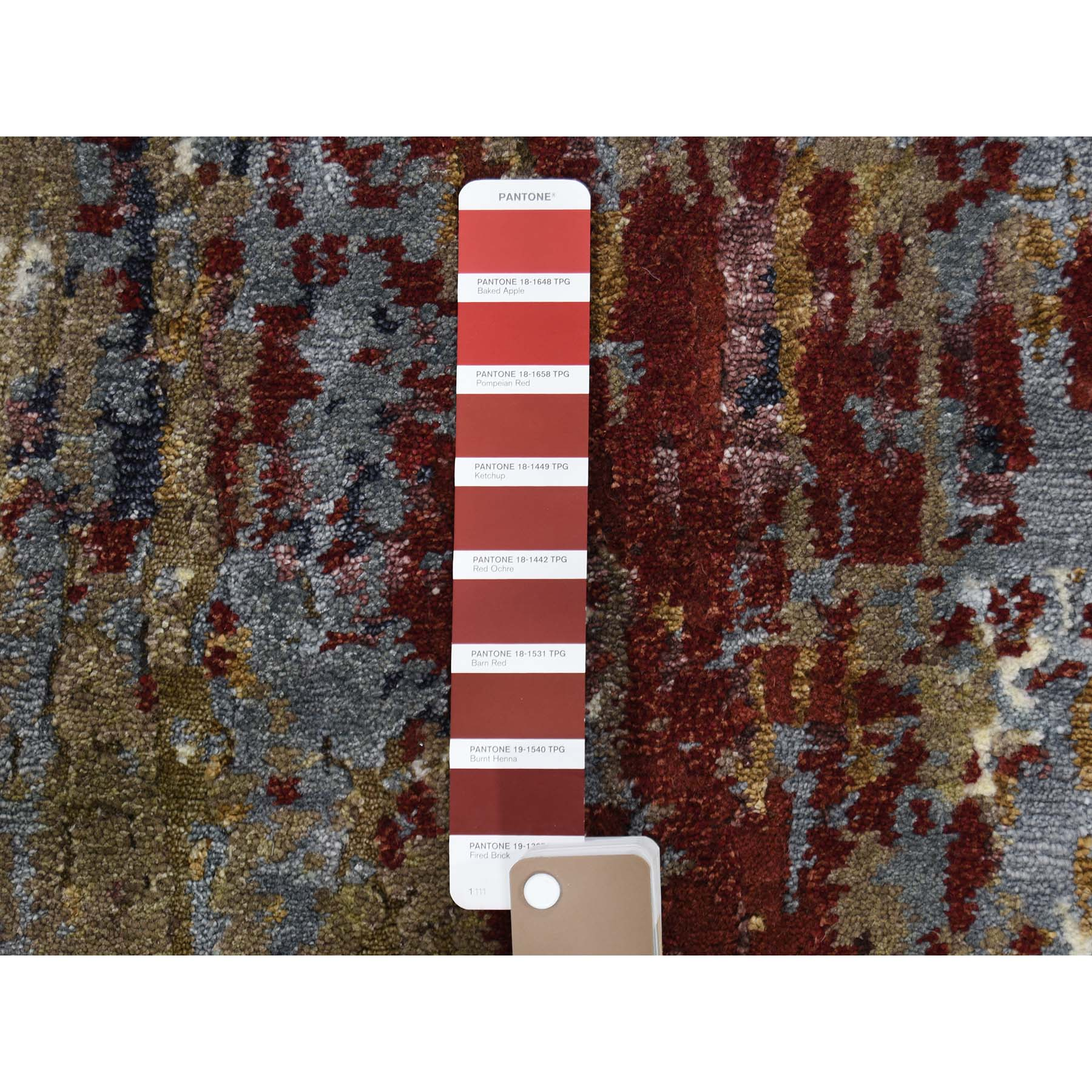 2-x3- Hand-Knotted Wool And Silk Abstract Design Oriental Rug