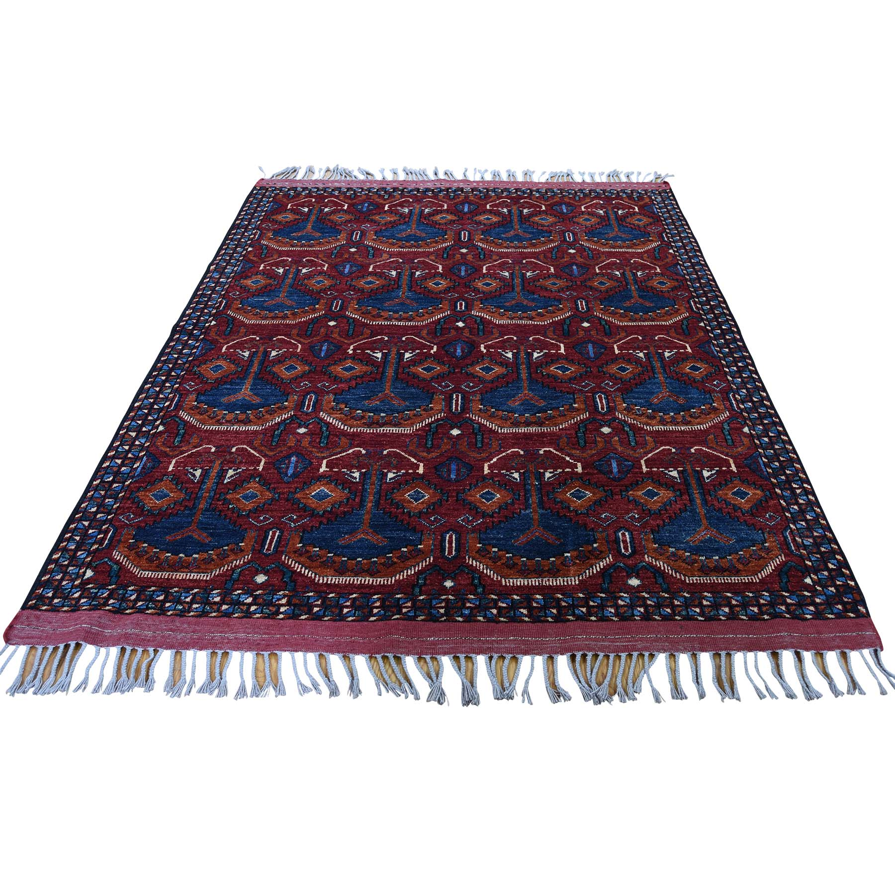 "5'1""x6'6"" Afghan Ersari Pure Wool Hand-Knotted Oriental Rug"