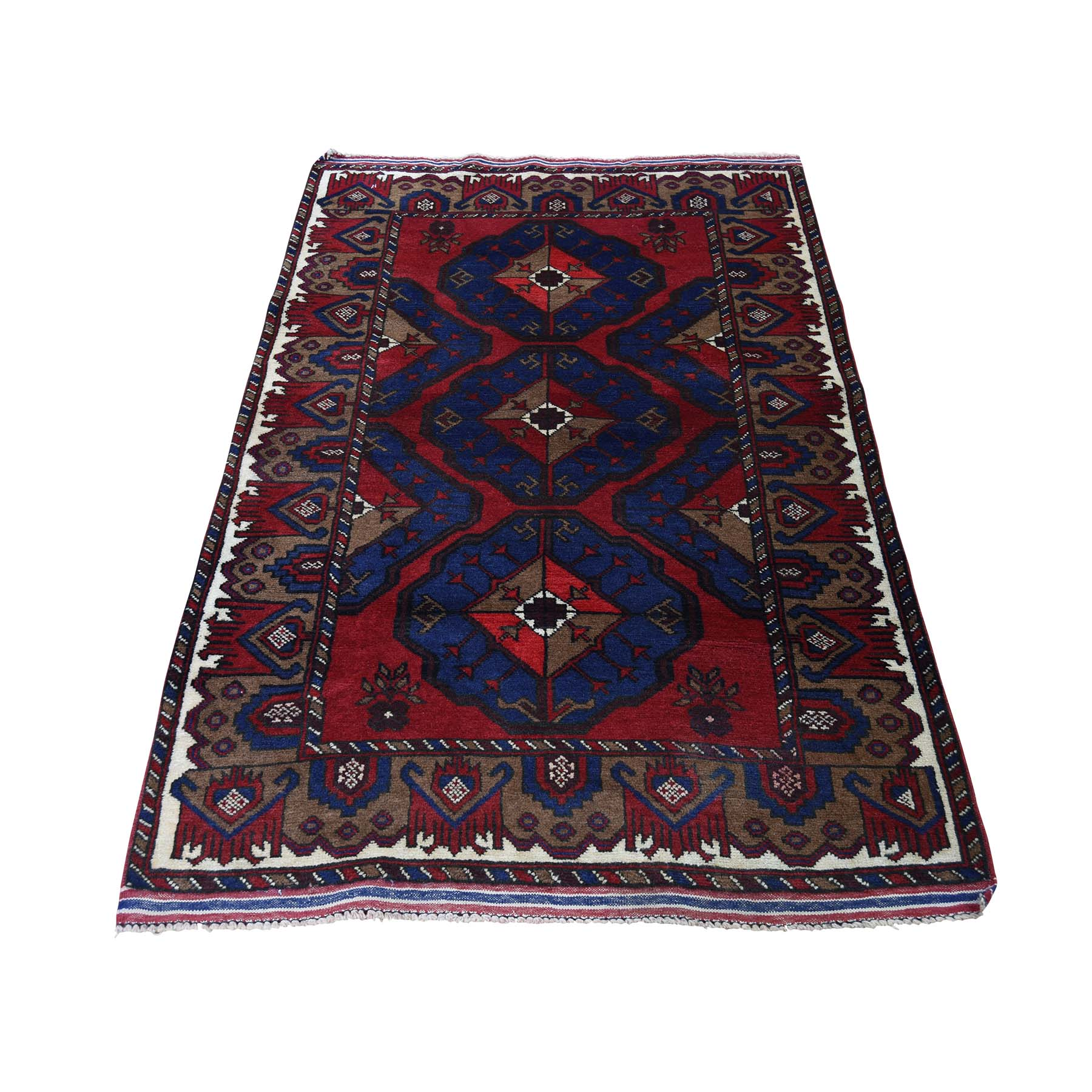 "3'X5'7"" Pure Wool Tribal And Geometric Afghan Baluch Hand-Knotted Oriental Rug moadc9ab"
