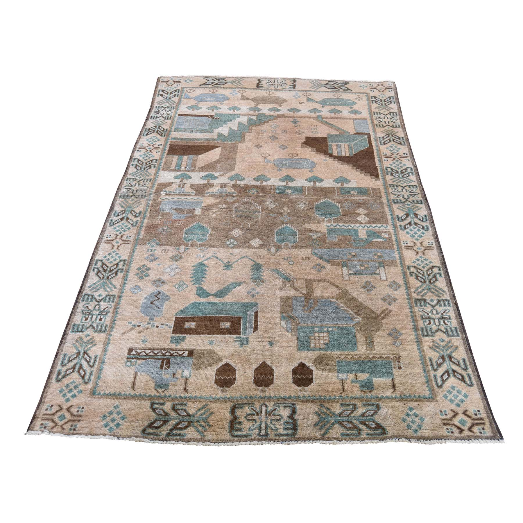 "3'7""X6'1"" Washed Out Pictorial Afghan Baluch Hand-Knotted Pure Wool Oriental Rug moadc9ae"