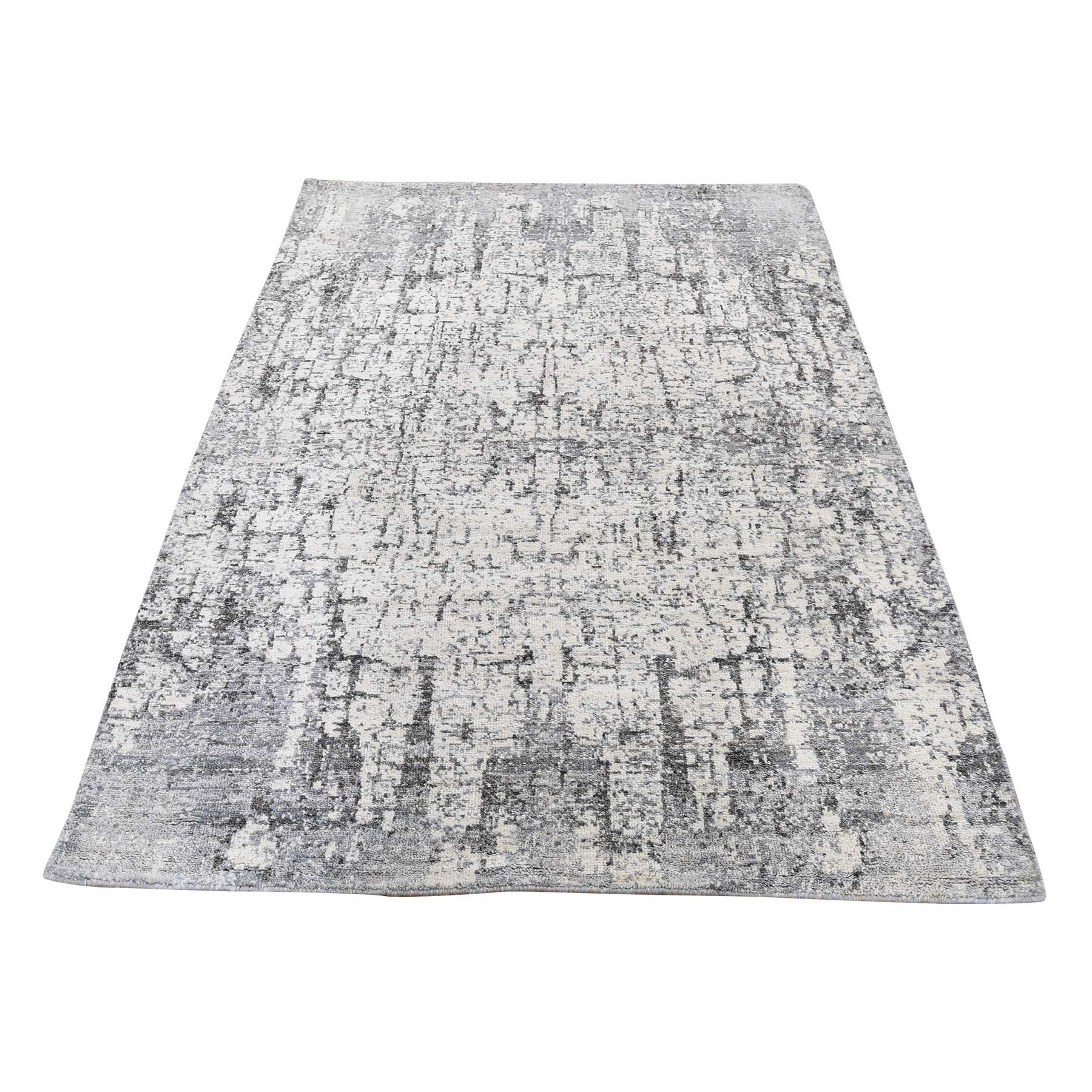 """4'X6'2"""" Abstract Design Hand-Knotted Hi-Lo Pile The Tree Bark Soft Wool Oriental Rug moadc9dc"""