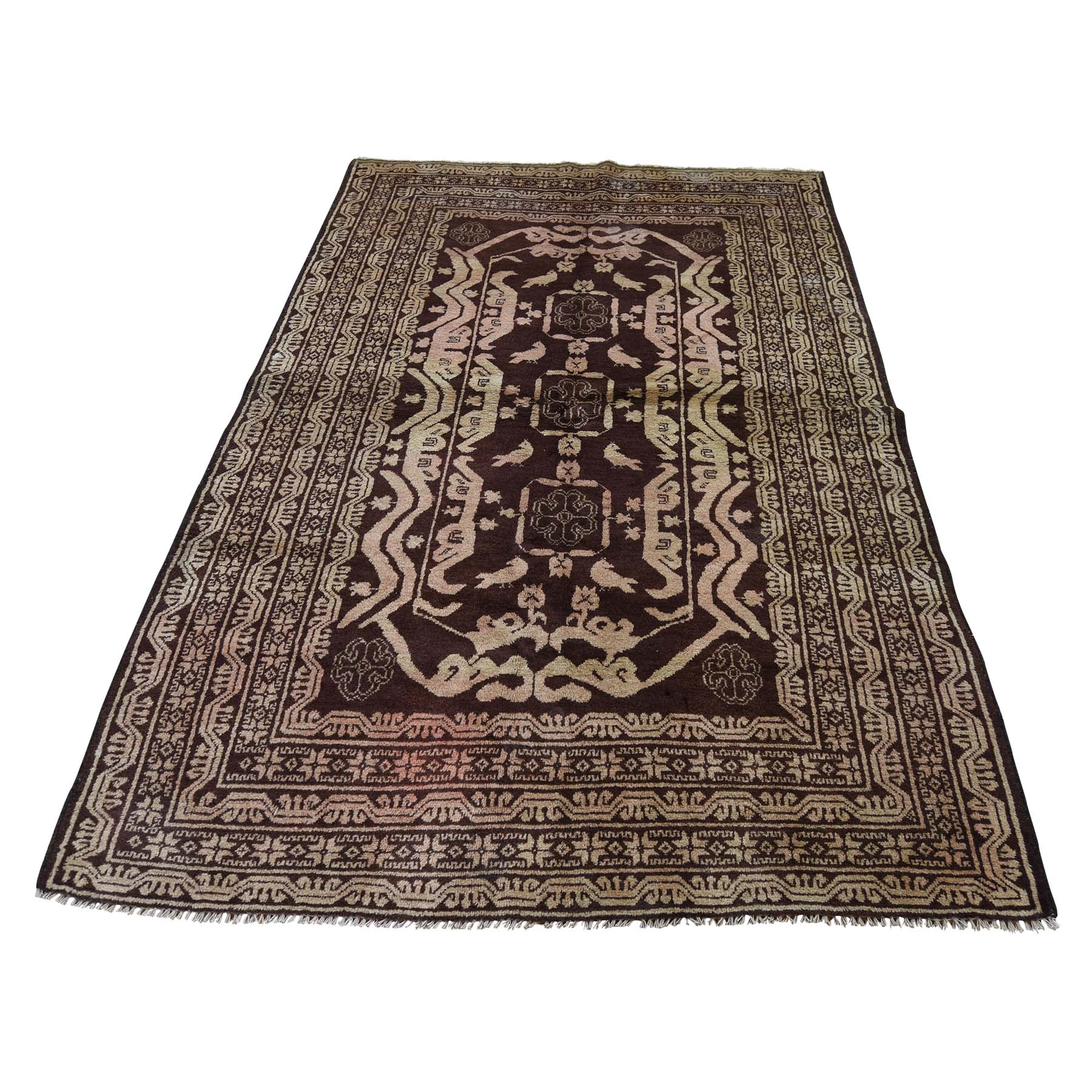 "4'1""X6'9"" Pure Wool Afghan Baluch Washed Out Color With Birds Hand-Knotted Oriental Rug moadc9e0"