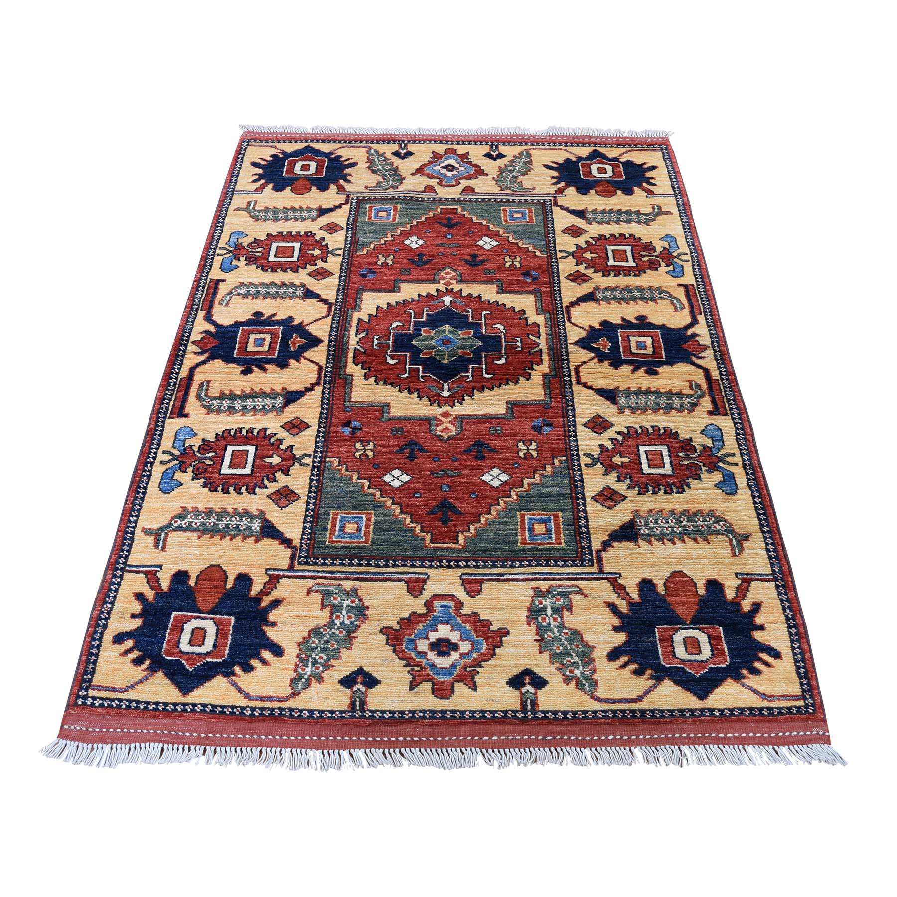 "3'5""X5' Pure Wool Hand-Knotted Afghan Ersari Oriental Rug moadc9ea"