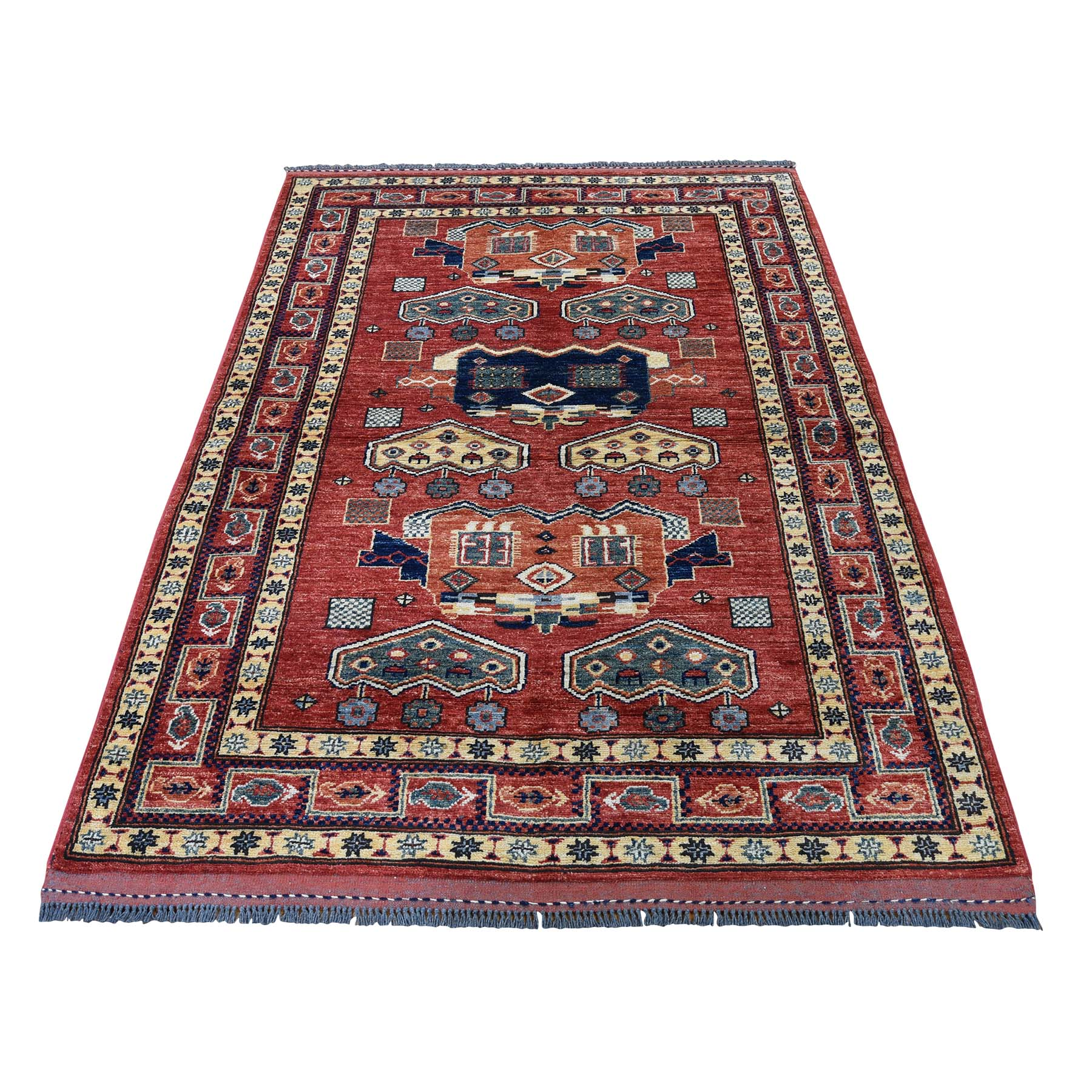 "4'X5'7"" Pure Wool Hand-Knotted Afghan Ersari Oriental Rug moadc97a"