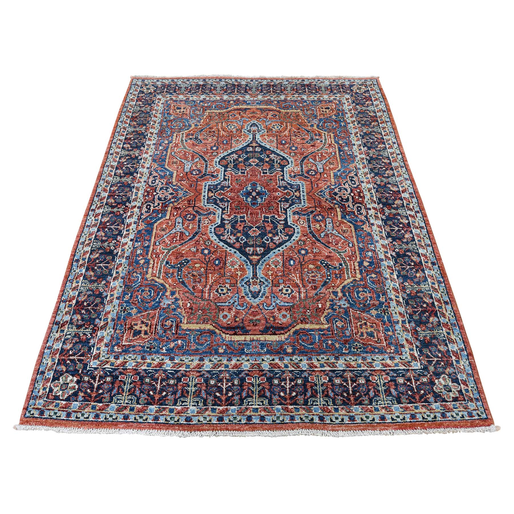 "4'1""x5'10"" Peshawar Antiqued Sarouk Fereghan Hand-Knotted Pure Wool Oriental Rug"