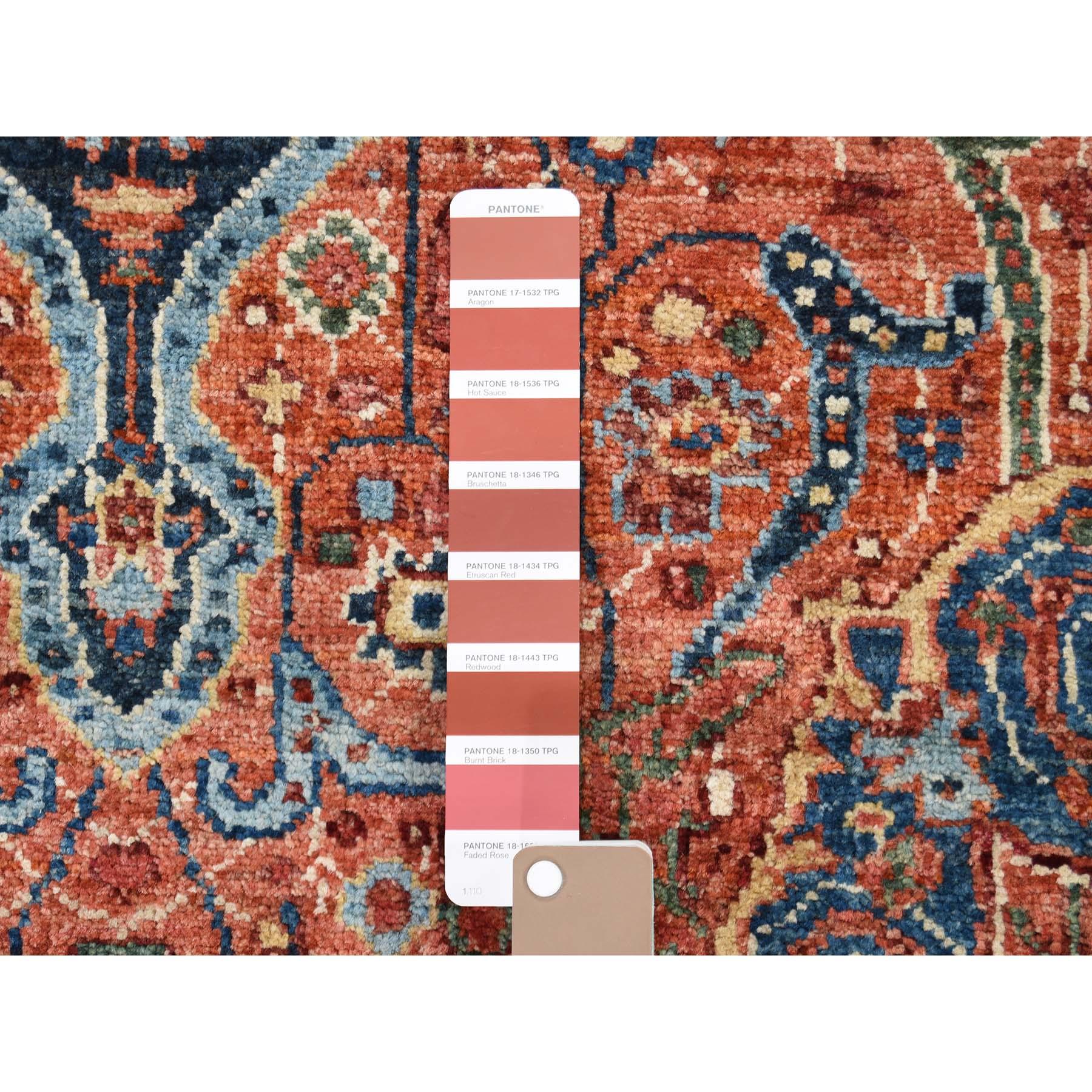 "4'1""x5'10"" Peshawar Antiqued Sarouk Fereghan Hand-Knotted Pure Wool Oriental Rug"