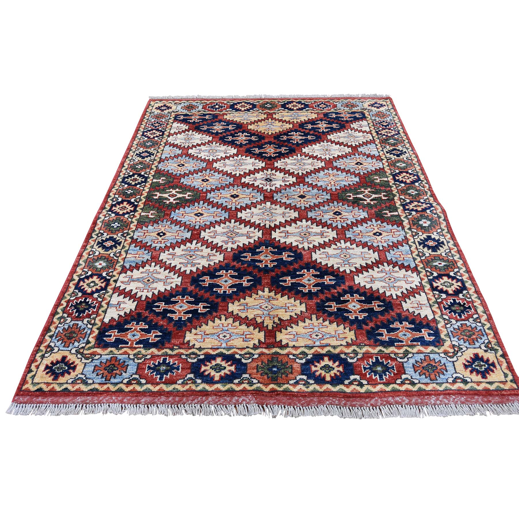 "4'X5'7"" Afghan Ersari Repetitive Design Hand Knotted Oriental Rug moadc97c"