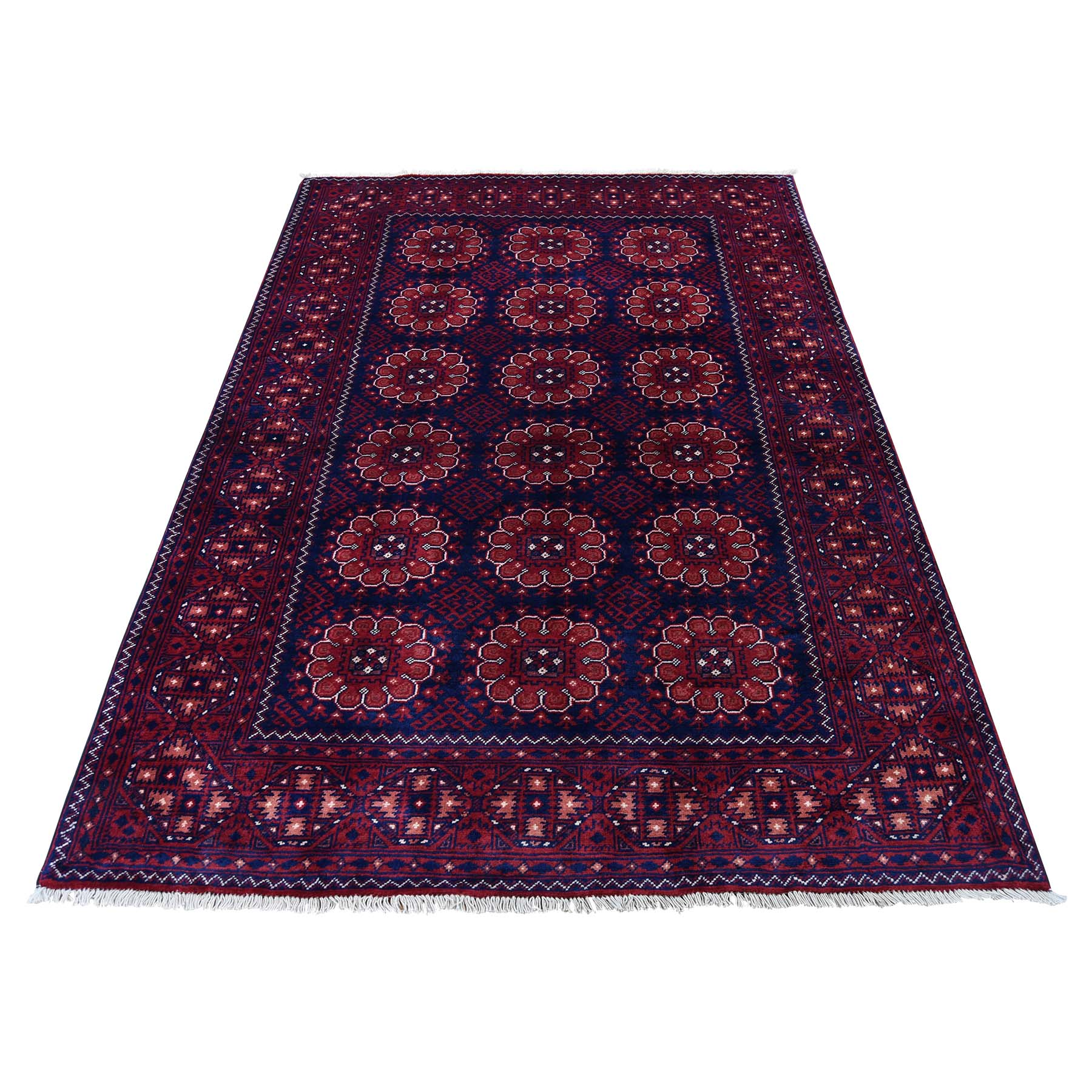 "4'1""X6'3"" Afghan Khamyab Dense Weave Silky Wool Hand Knotted Oriental Rug moadc98e"