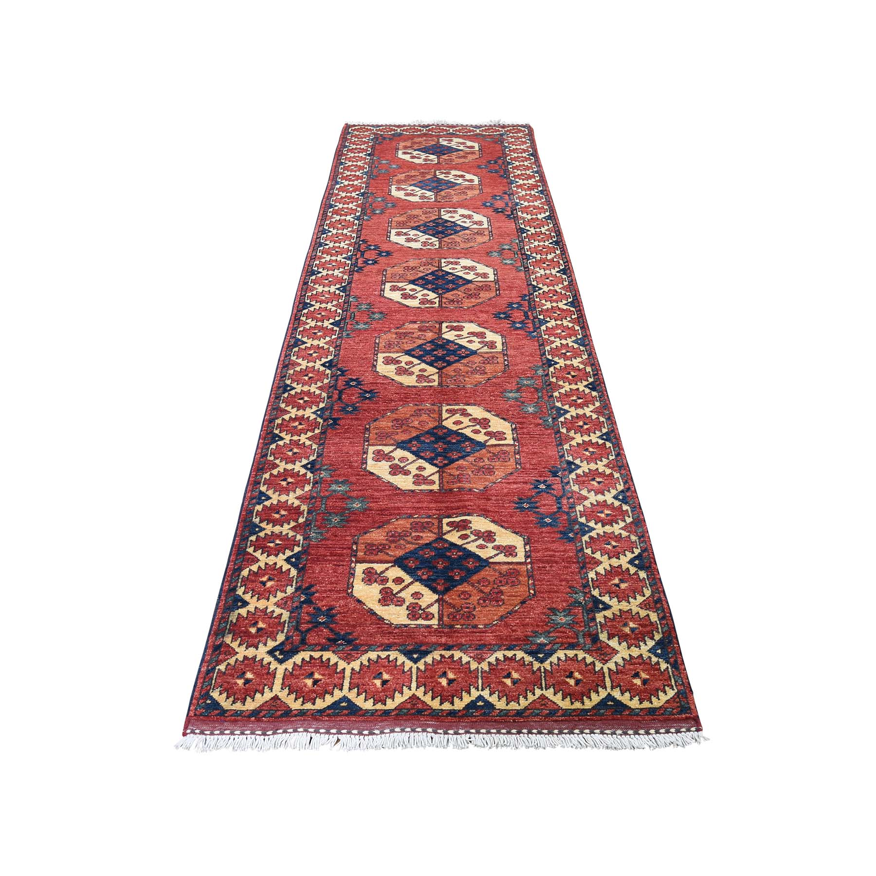 "2'9""X11'3"" Afghan Ersari Elephant Feet Design Runner Hand-Knotted Oriental Rug moadc99b"