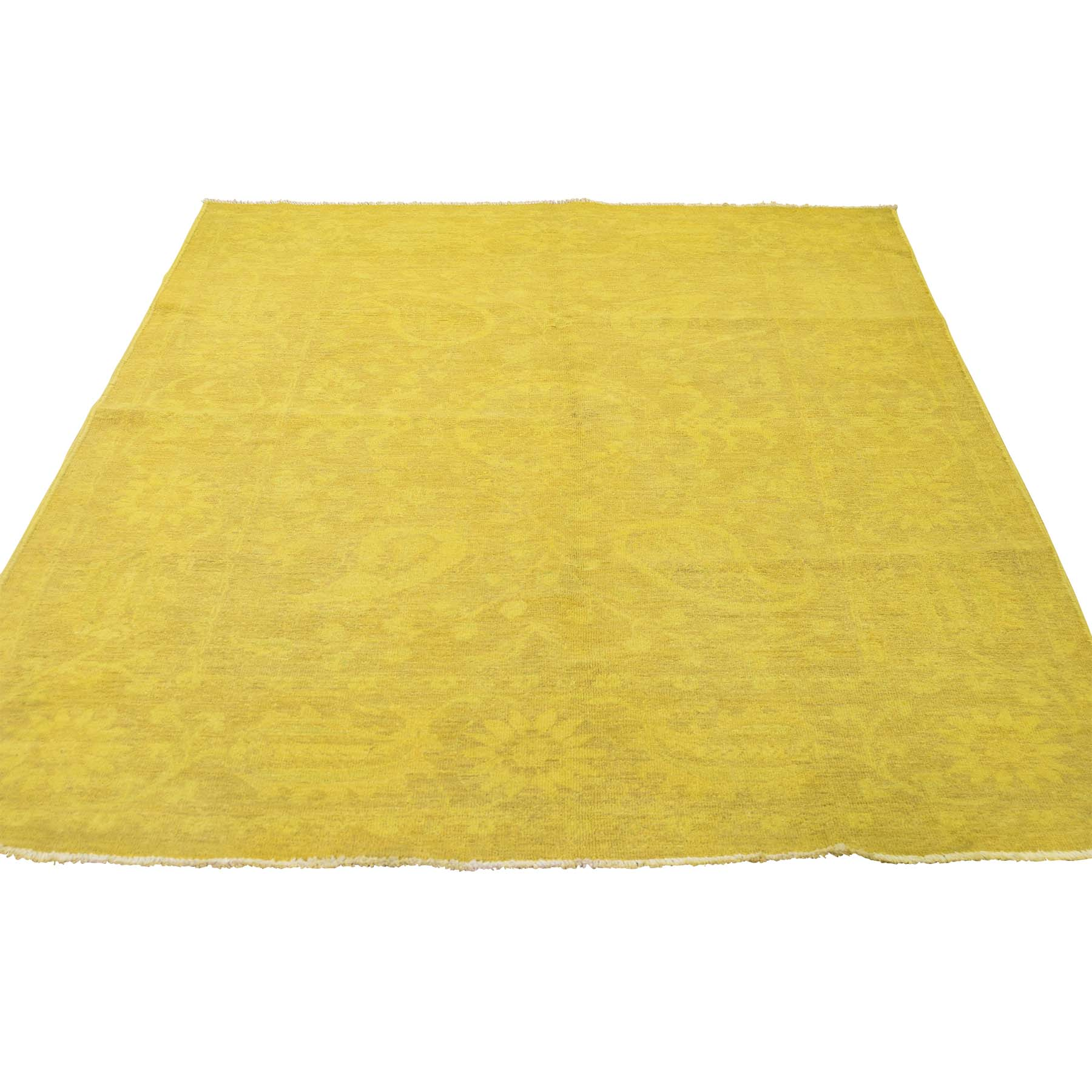 "5'x6'7"" Hand-Knotted Yellow Overdyed Peshawar Pure Wool Oriental Rug"