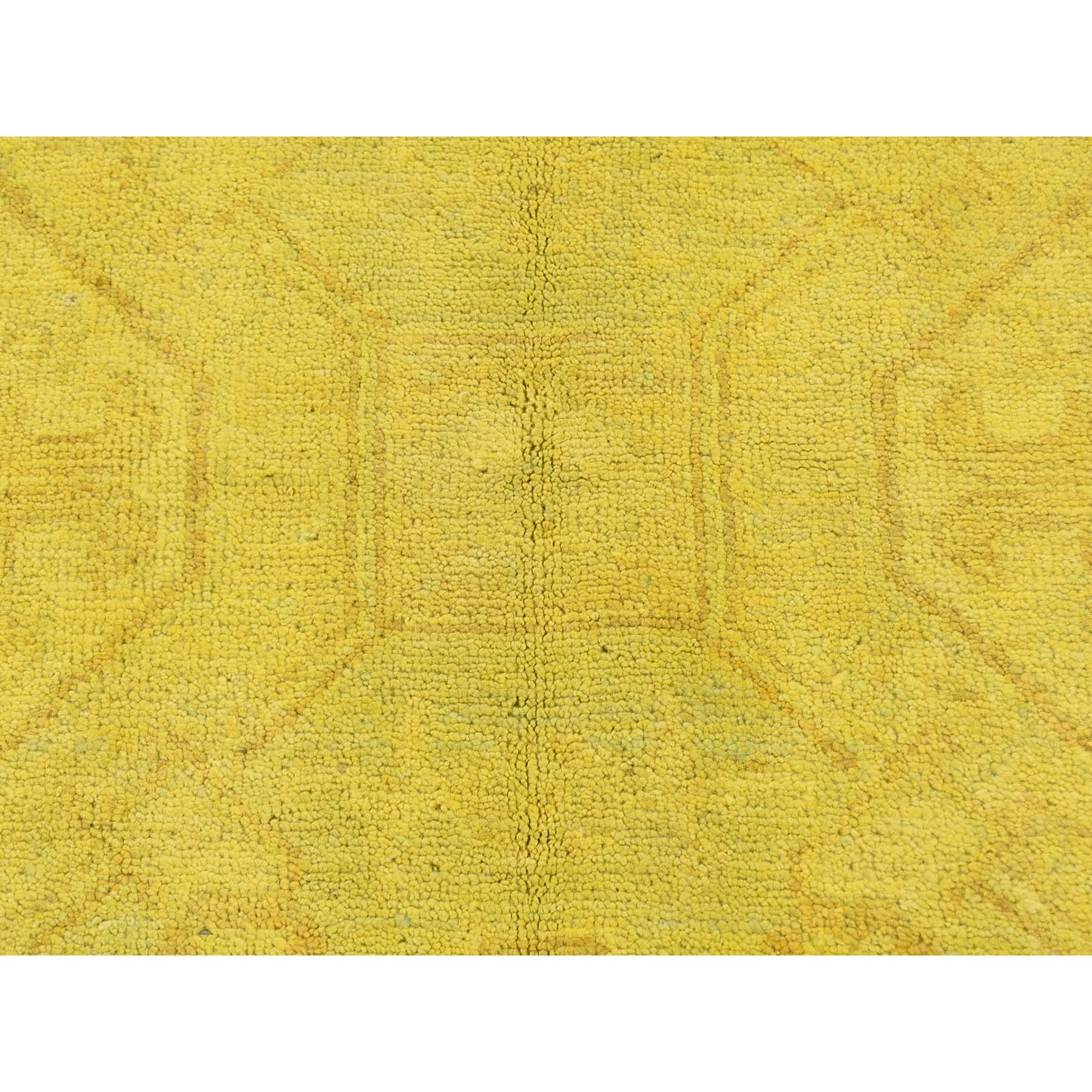 "6'x9'1"" Yellow Overdyed Peshawar Pure Wool Hand Knotted Oriental Rug"