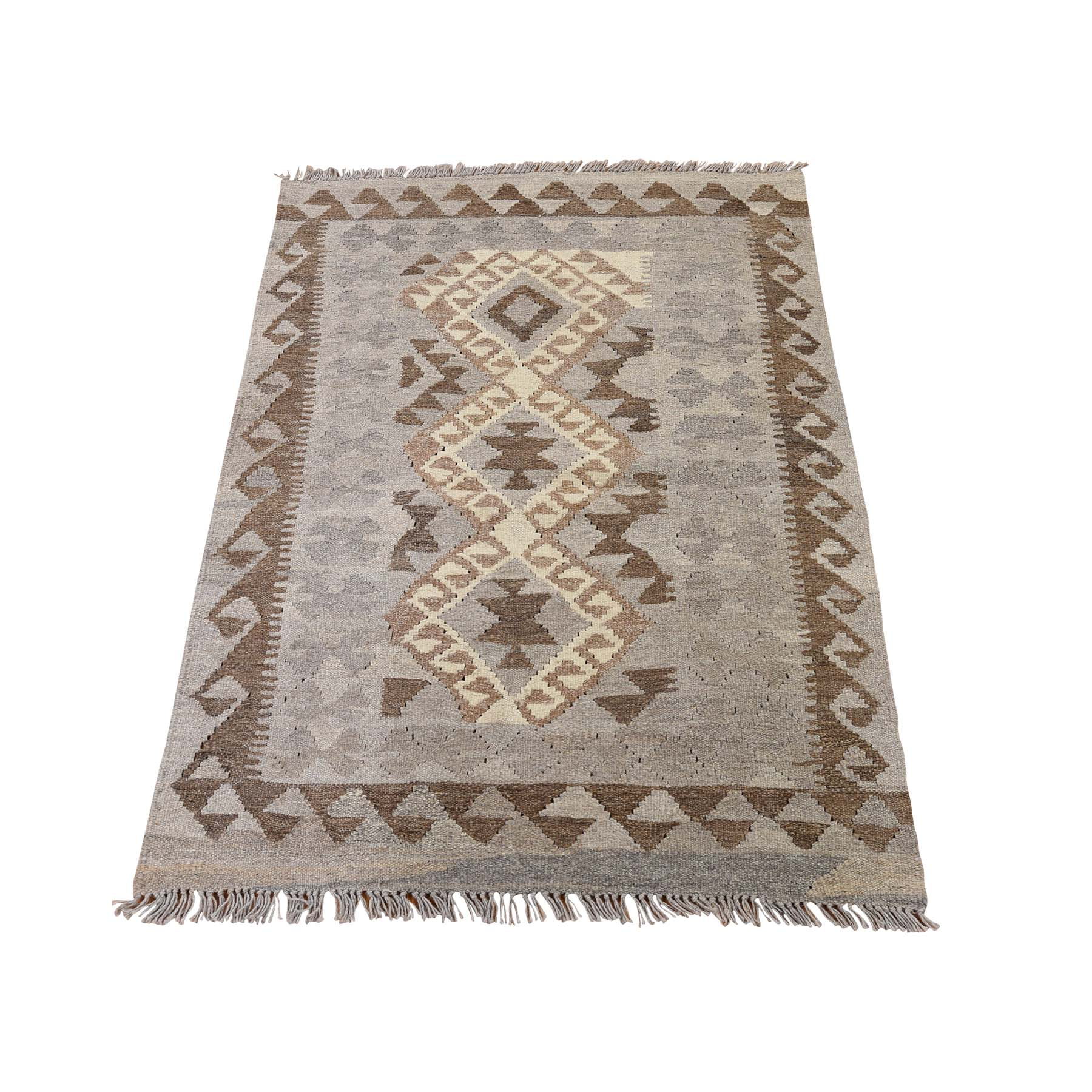 "2'8""X4' Afghan Kilim Reversible Undyed Natural Wool Hand Woven Oriental Rug moadd0cd"