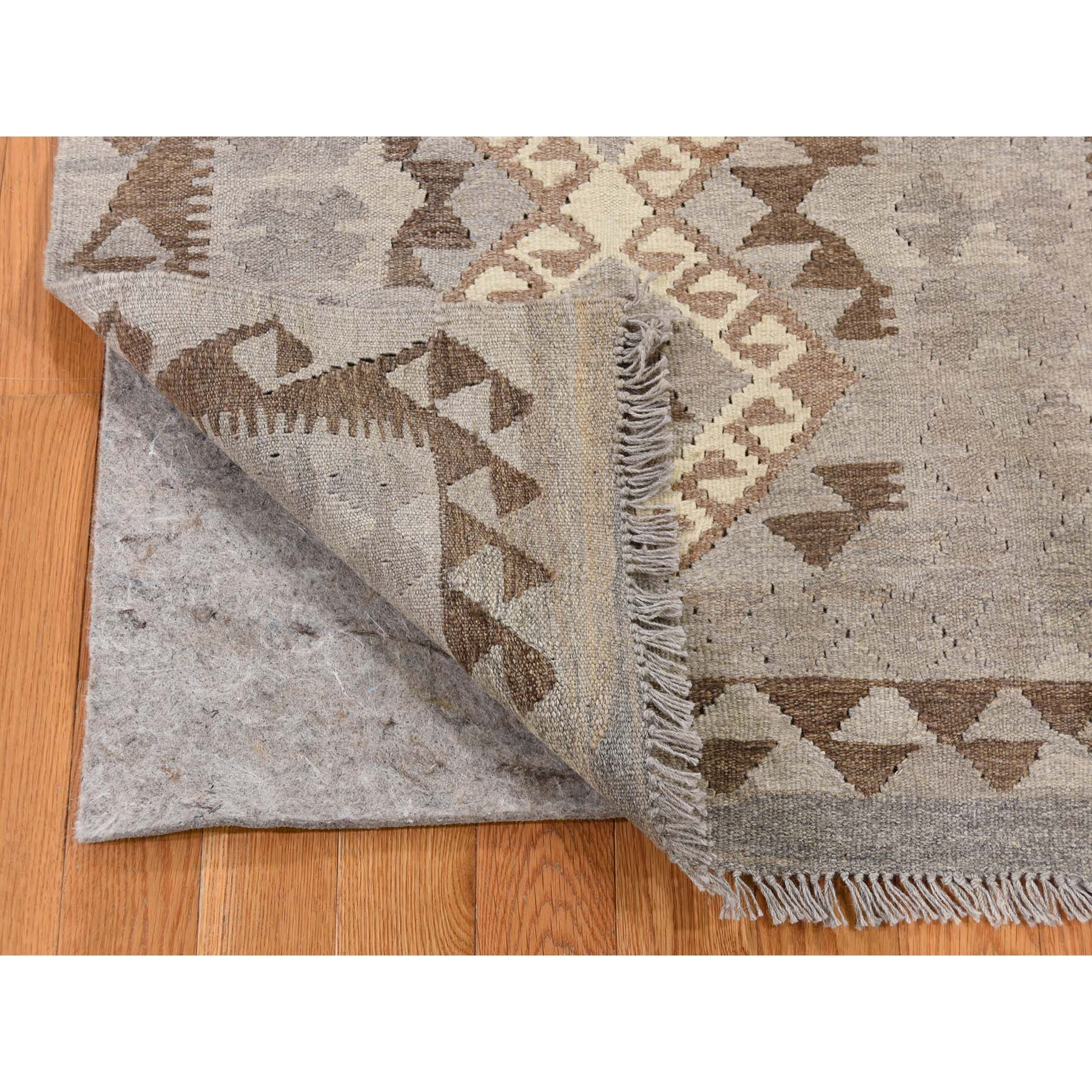 2-8 x4- Afghan Kilim Reversible Undyed Natural Wool Hand Woven Oriental Rug