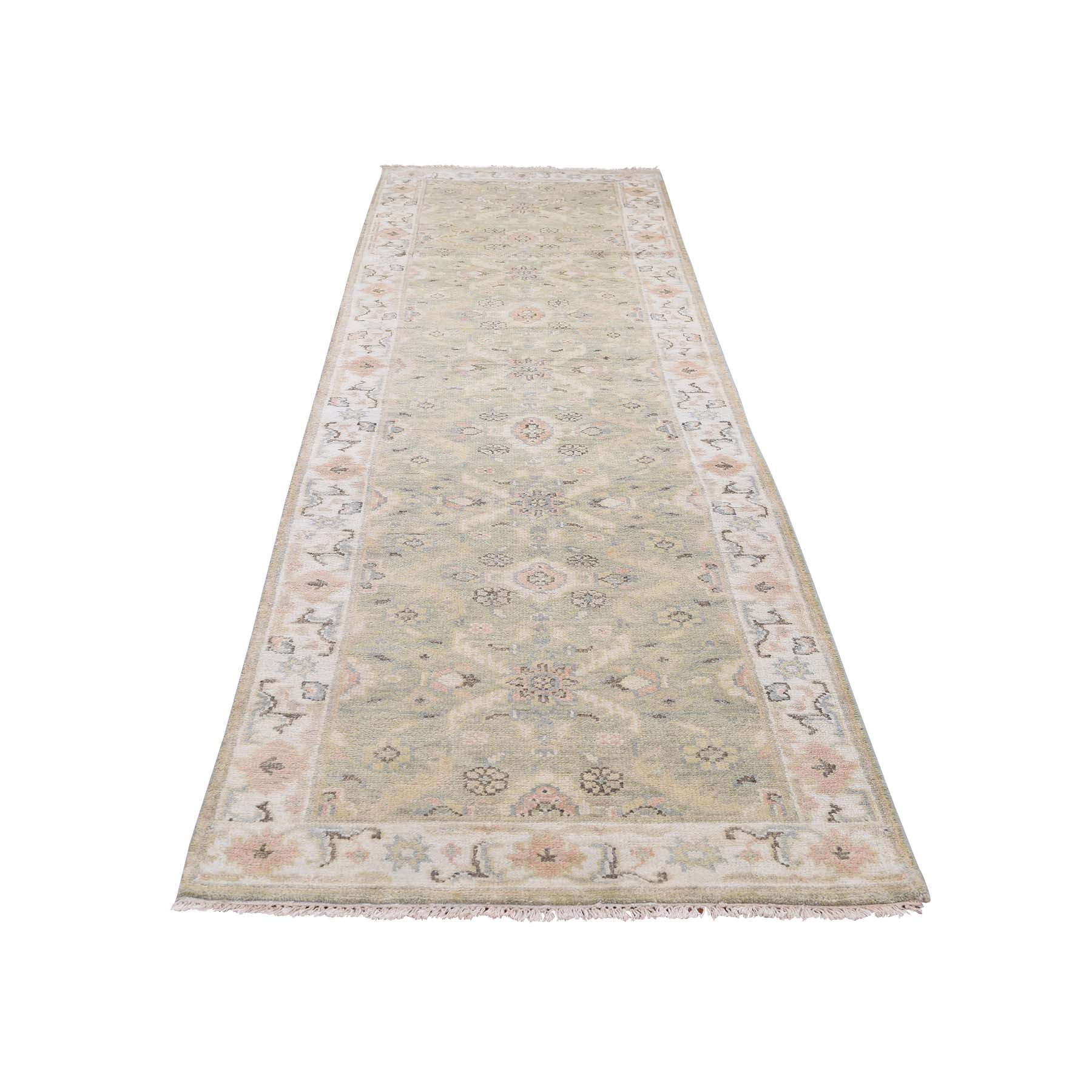 "3'x11'10"" Pure Wool Indo Oushak Runner Hand-Knotted Oriental Rug"