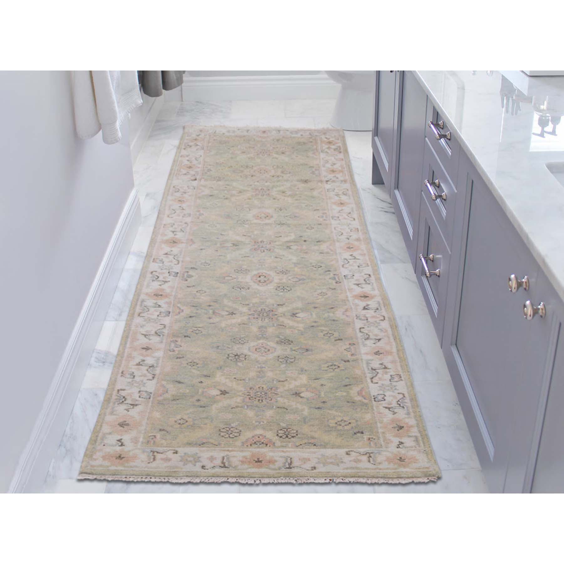 3-x11-10  Pure Wool Indo Oushak Runner Hand-Knotted Oriental Rug