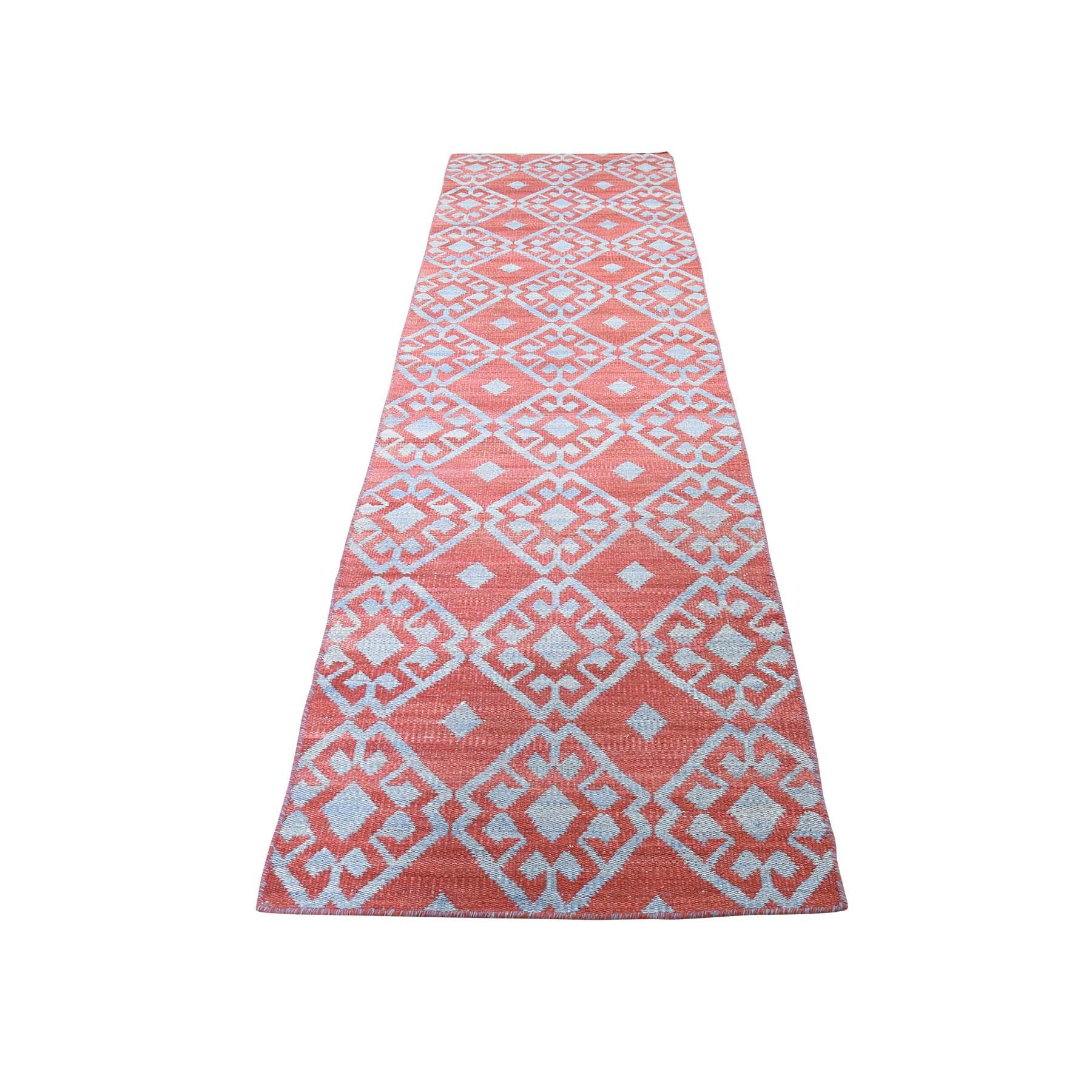 "2'6""X10' Flat Weave Reversible Kilim Pure Wool Runner Hand Woven Runner Oriental Rug moaddaad"