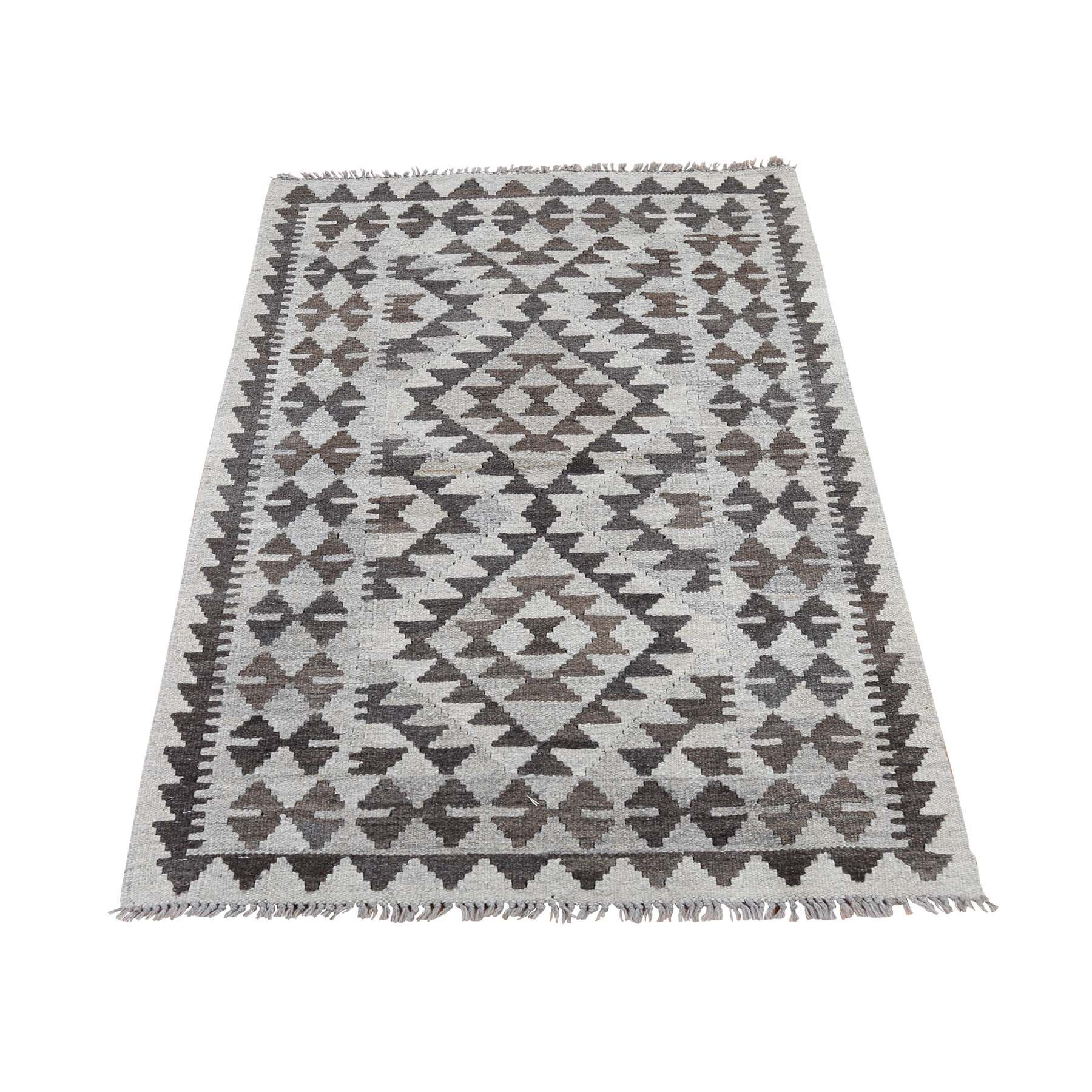 "2'9""X4' Afghan Kilim Reversible Undyed Natural Wool Hand Woven Oriental Rug moaddaa9"