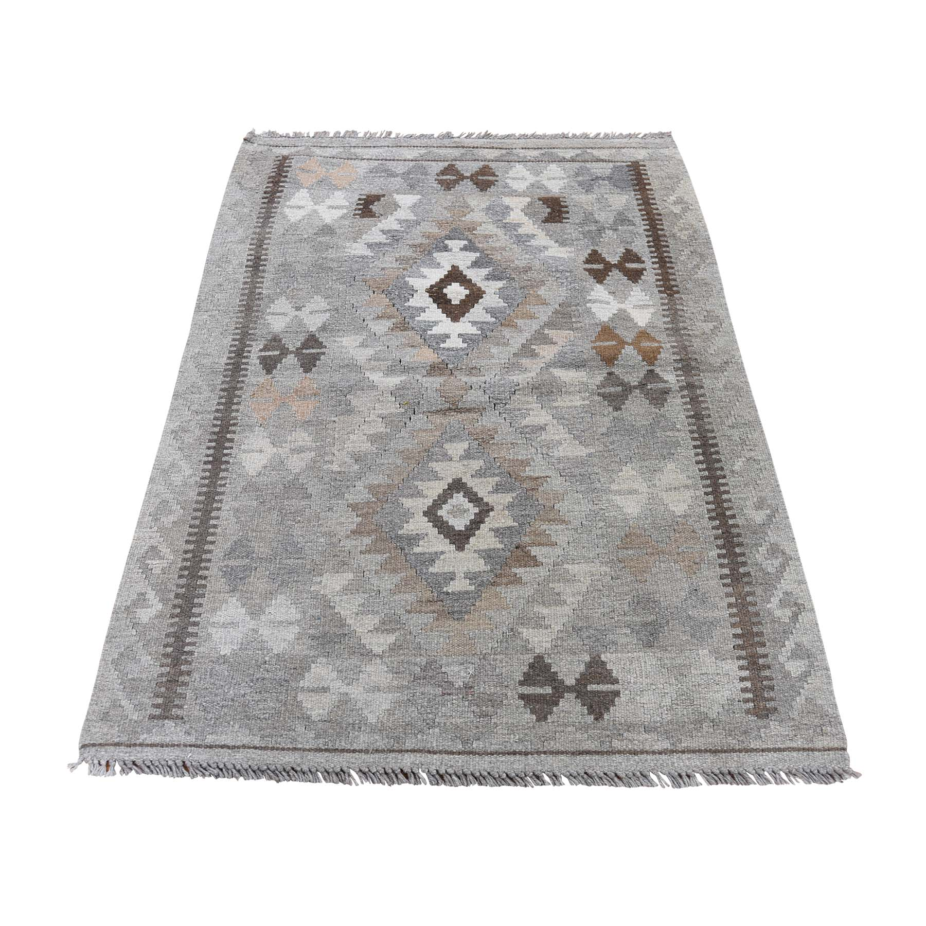 "2'7""X3'10"" Afghan Kilim Reversible Undyed Natural Wool Hand Woven Oriental Rug moaddab0"