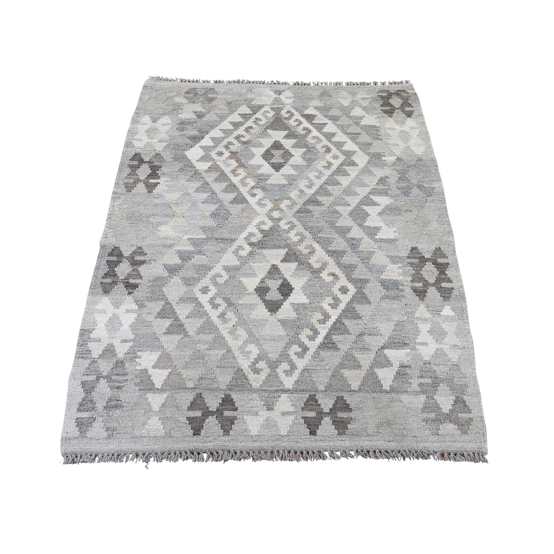 """3'x4'2"""" Afghan Kilim Reversible Undyed Natural Wool Hand Woven Oriental Rug"""