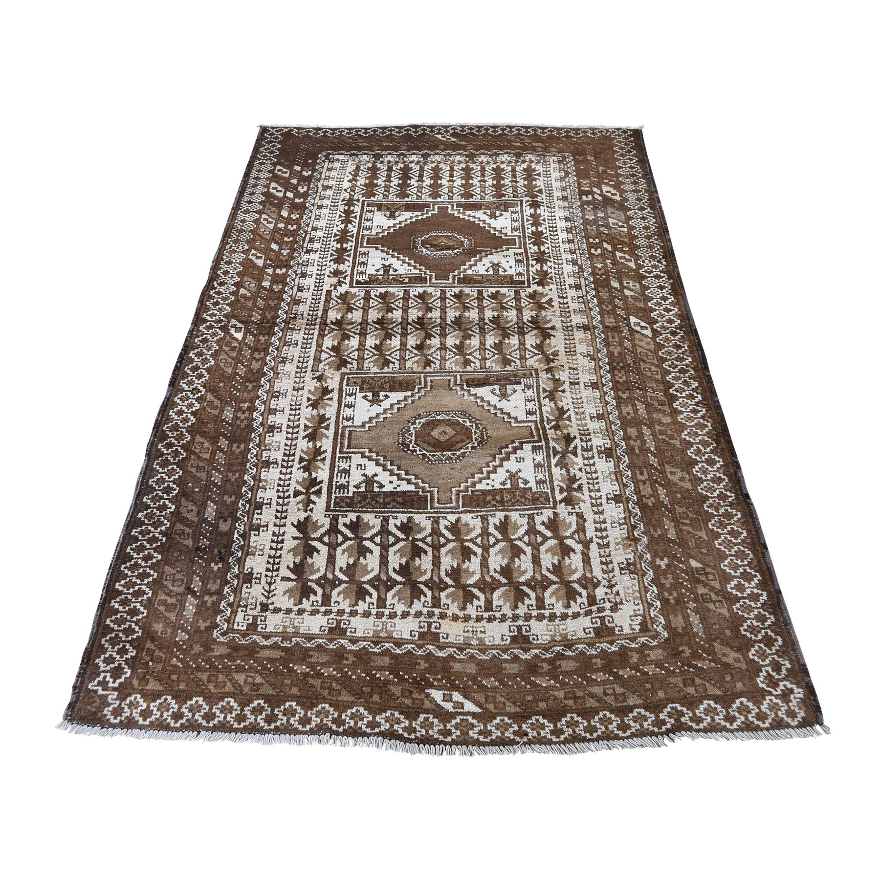 """3'5""""X6' Afghan Baluch Washed Out Pure Wool Hand-Knotted Oriental Rug moaddade"""