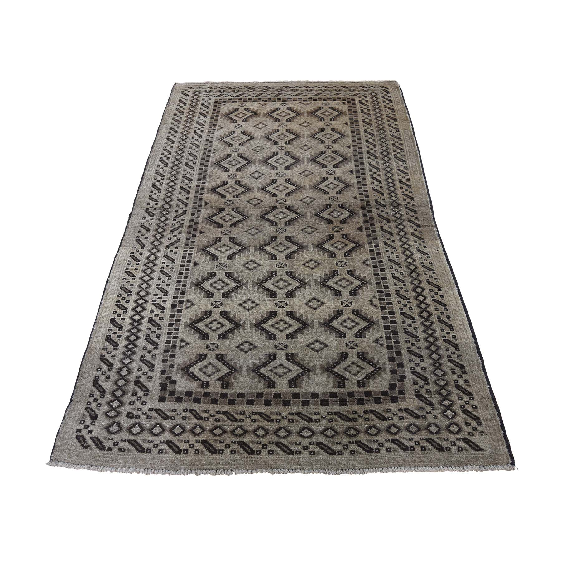 """3'6""""X6'3"""" Afghan Baluch Washed Out Pure Wool Hand-Knotted Oriental Rug moaddad7"""