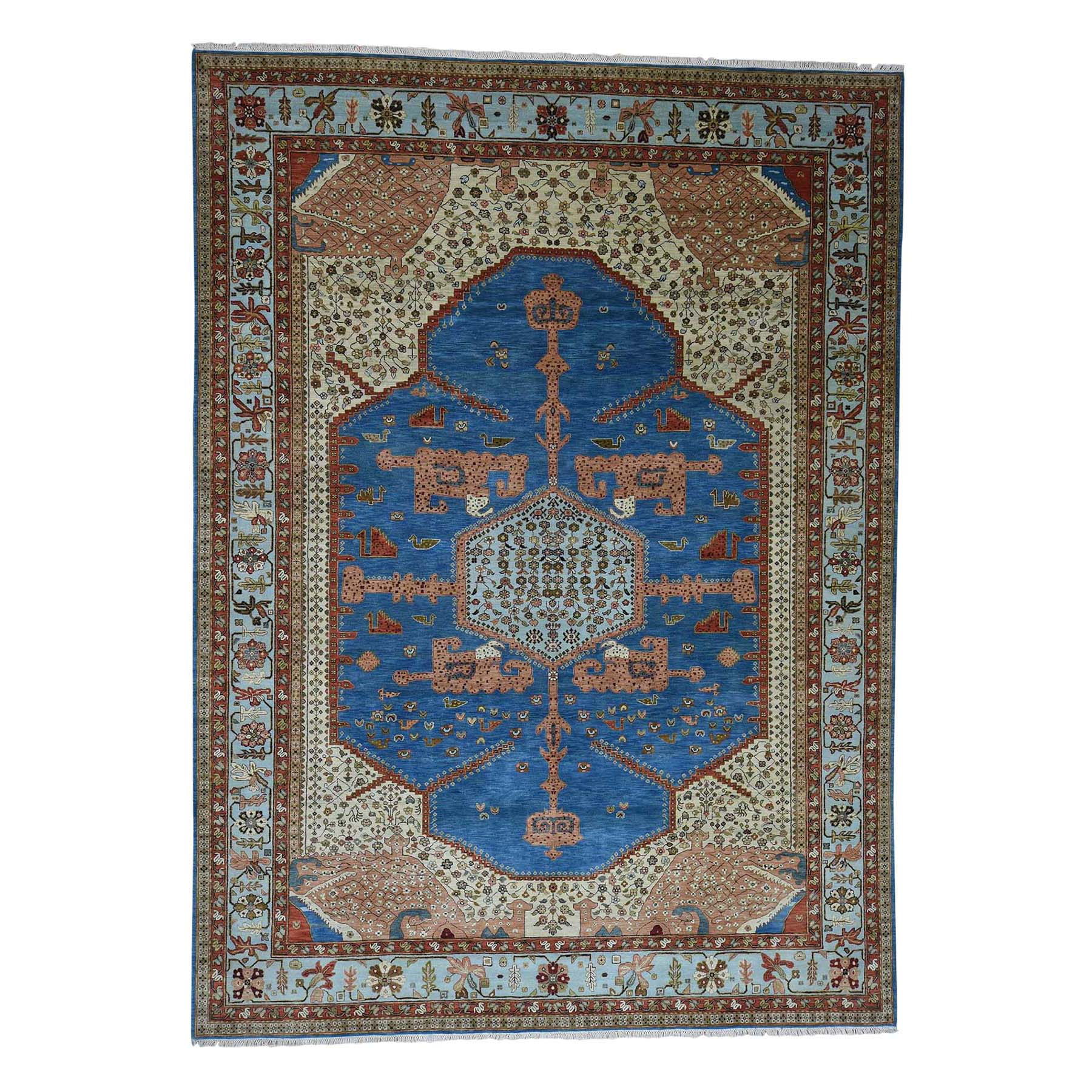 "9'1""X11'8"" Pure Wool Vegetable Dyes Bakshaish Hand-Knotted Oriental Rug moadda6c"