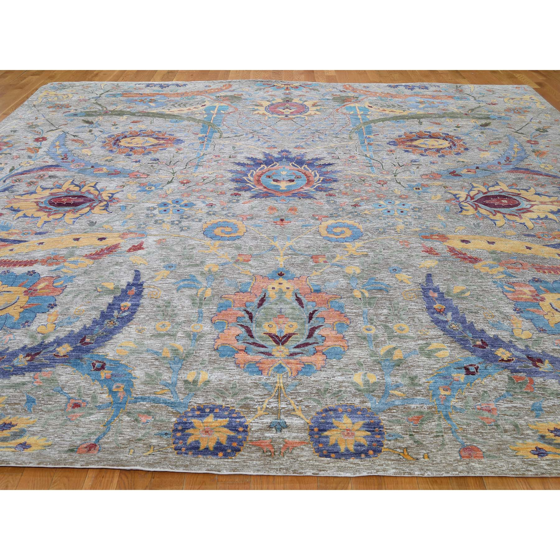 12-2 x12-2  Square Hand-Knotted Sickle Leaf Design Silk With Oxidized Wool Oriental Rug