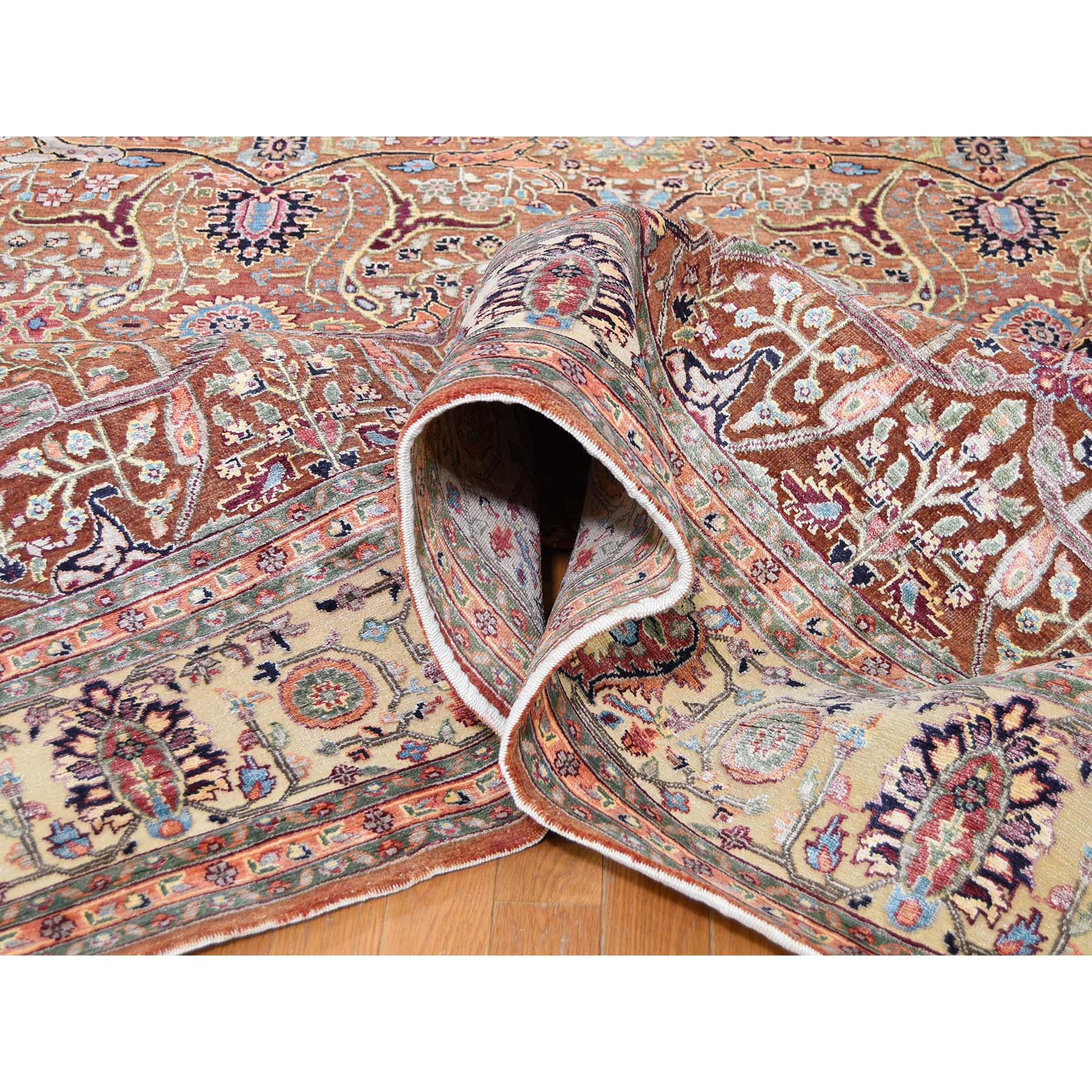 8-10 x12-4  Oushak Design Silk WIth Oxidized Wool Hand-Knotted Oriental Rug