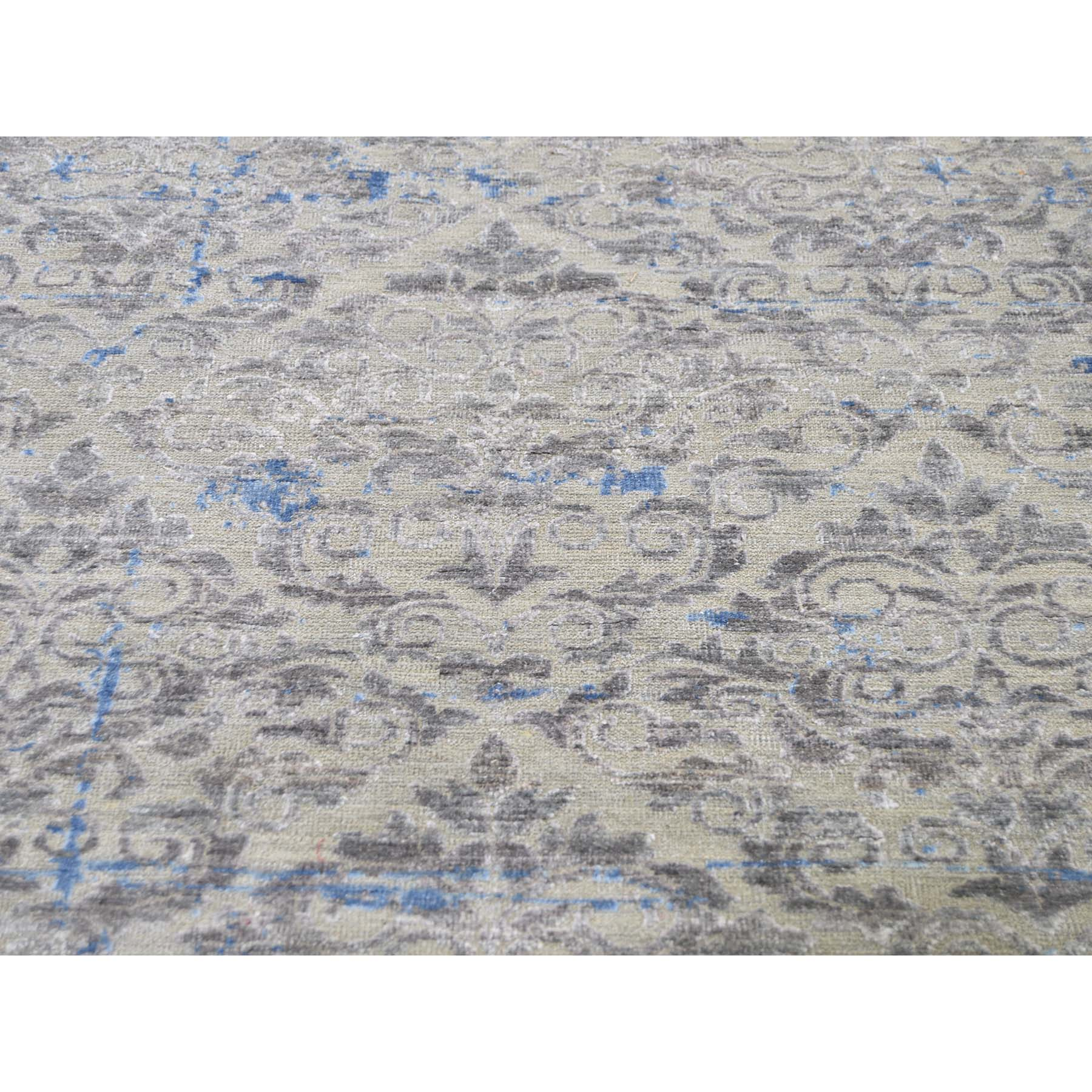 9-8 x13-6  Pure Silk With Oxidized Wool Trellis Garden Design Hand-Knotted Oriental Rug