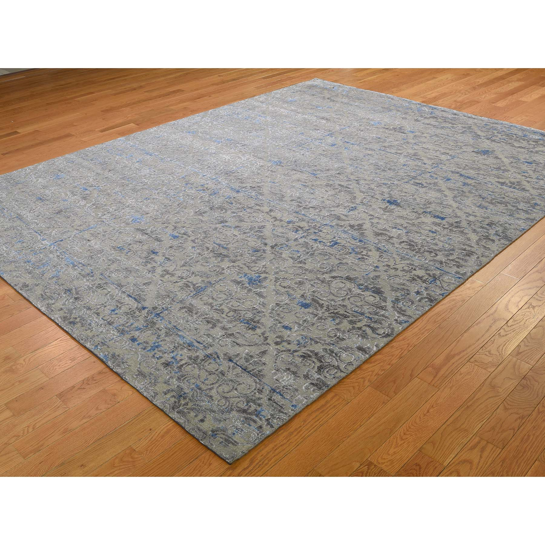 7-10 x10-2  Pure Silk With Oxidized Wool Trellis Garden Design Hand-Knotted Oriental Rug
